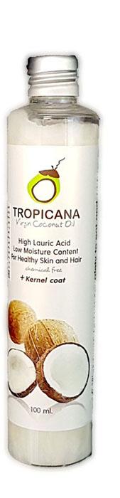 Кокосовое масло холодного отжима Tropicana, 100 млFS-36054Кокосовое масло холодного (первого) отжима Tropicana Oil Virgin Coconut идеально подходит для ежедневного использования. Производится из лучших пород кокоса, растущих в южной части Таиланда, с помощью холодного прессования и отжима мякоти кокоса и внутренней оболочки ядра. Золотисто-желтое кокосовое масло насыщено питательными веществами полезными для здоровья кожи и волос, такими как: витамины группы В, Е, С, Н, клетчаткой, микро- и макроэлементами: калий, кальций, йод, марганец, фосфор, медь. В составе кокоса выделяют лауриновую кислоту, которая обладает подтягивающими и омолаживающими свойствами, борется с угревой болезнью.