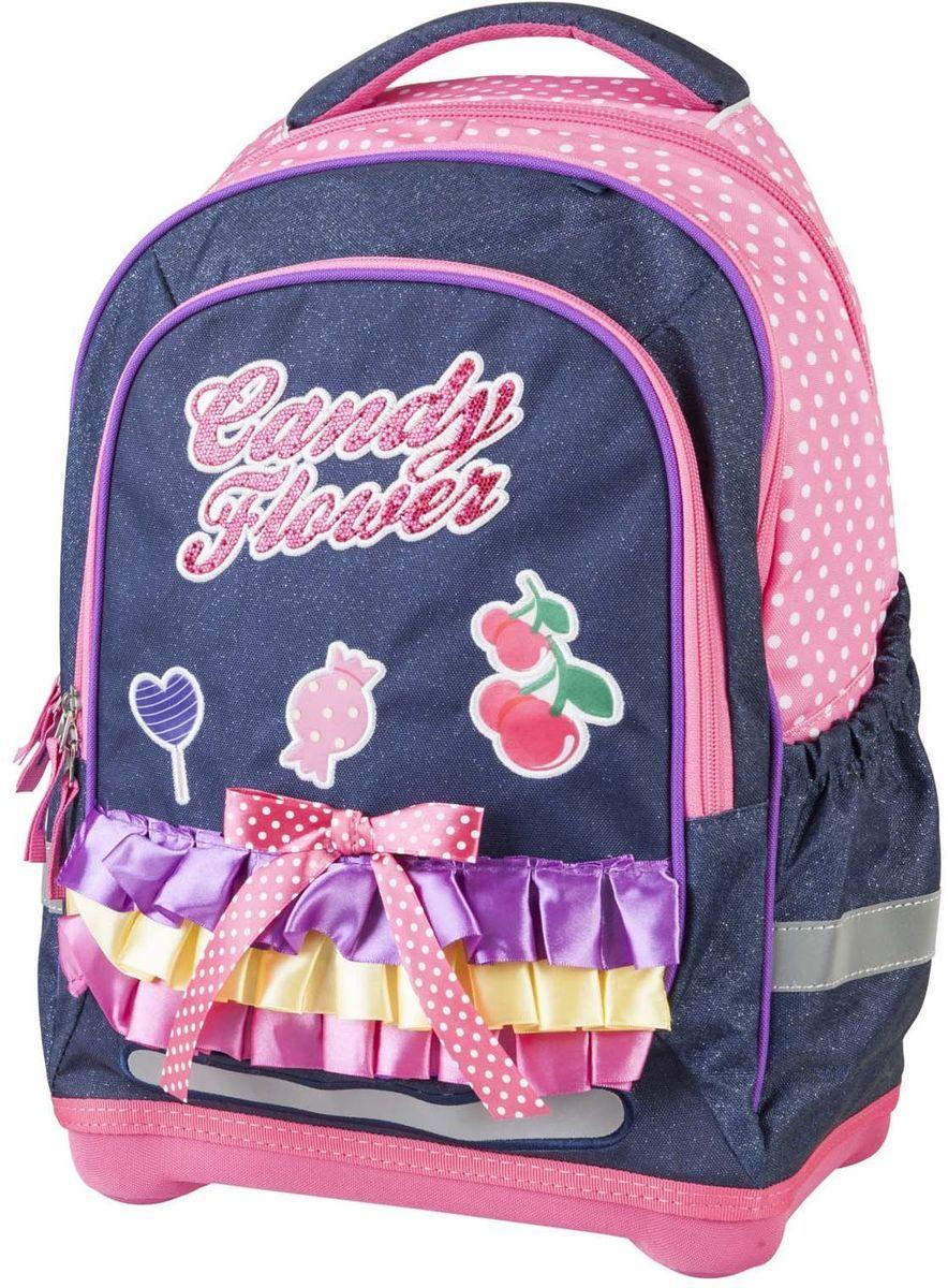 Target Collection Ранец школьный Сладкие цветы72523WDРюкзак имеет специальную прочную форму, пригодную для учеников начальных классов. Рюкзак очень легкий и изготовлены из особо прочного материалы. Удобная спинка для позвоночника, которая может быть скорректирована под рост ребенка. Мягкие плечевые ремни имеют вентиляционные отверстия. Рюкзак который растет вместе с ребенком, это система, которая позволяет увеличить скобки и адаптировать рюкзак по росту ребёнка. Настройка «М» при росте от 110 до 125 см, размер «L» для детей от 125 до 140 см и «XL» для детей ростом более 140 см. Светоотражающие материалы присутствуют на передней, боковой и задней сторонах рюкзака. Это позволяет сделать ваших детей более заметными и обезопасить не только в течение дня, но и ночью. Ремни вытягиваются под рост ребенка. При правильном использовании, вес распределяется 70% на бедра и 30 % на область плеч и, таким образом уменьшаются усилия, чтобы носить рюкзак. Рюкзак супер лёгкий, супер прочный.