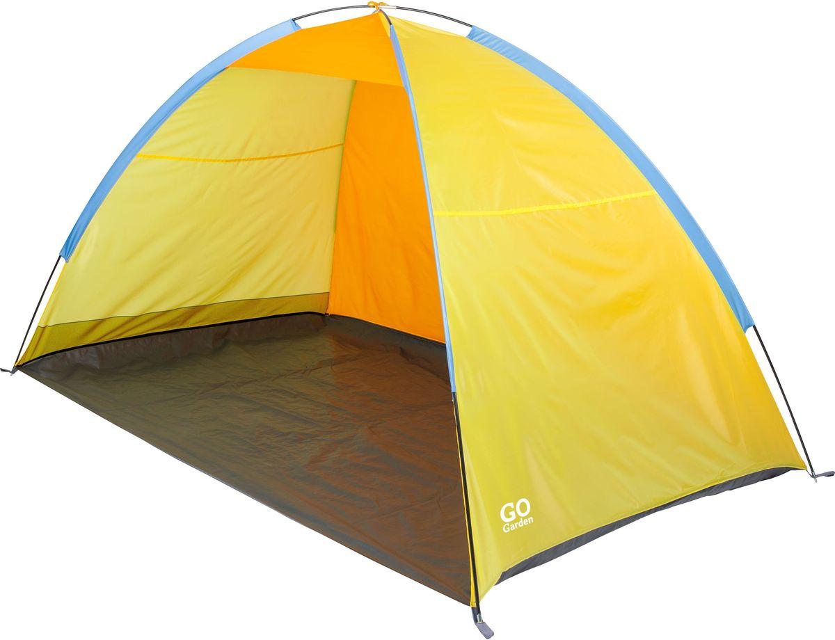 Тент пляжный GoGarden Maui Beach, 220 х 130 х 120 см, цвет: желтый оранжевый09840-20.000.00Пляжный тент GoGarden Maui Beach, обеспечивает защиту от солнца, ветра и даже легких осадков - особенно полезен для очень маленьких детей. Очень прост в установке, имеет малый вес и удобный чехол с ручкой для переноски.Особенности модели:Простая и быстрая установка,Тент палатки из полиэстера, с пропиткой PU водостойкостью 800 ммКаркас выполнен из прочного стекловолокна,Дно изготовлено из прочного армированного полиэтилена, Утяжеляющий карман для песка для устойчивости тента,Растяжки и колышки в комплекте. Характеристики:Цвет: желтый/оранжевый.Размер шатра: 220 см х 130 см х 120 см.Материал шатра: 100% полиэстер, пропитка PU.Водостойкость тента: 800мм.Материал дуг: стеклопластик 7,9 мм.Вес: 1,4 кг.Размер в сложенном виде: 10 см х 68 см.Производитель: Китай.Артикул: 50226.