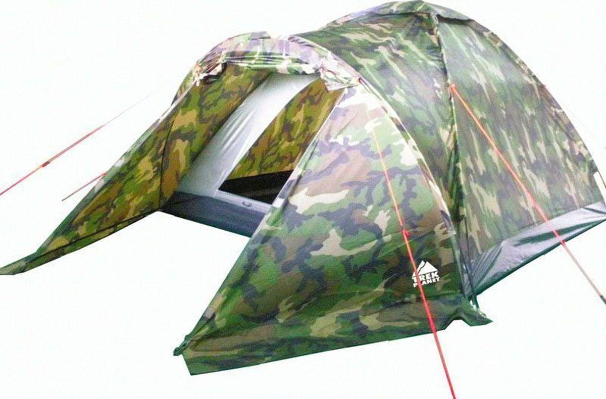 Палатка четырехместная TREK PLANET Forester 4, цвет: камуфляж70137Однослойная камуфляжная четырехместная палатка TREK PLANET Forester 4 станет необходимым атрибутом похода, рыбалки или охоты. Благодаря камуфляжной расцветке, не привлекает лишнего внимания на природе. Большое преимущество этой палатки в том, что в ней есть удобный тамбур, куда можно убрать вещи и обувь.Особенности модели:Палатка легко и быстро устанавливается,Палатка оснащена вместительным и защищенным от непогоды тамбуром, Тент палатки из полиэстера, с пропиткой PU, надежно защитит от дождя и ветра, все швы проклеены,Каркас выполнен из прочного стеклопластика,Дно изготовлено из прочного армированного полиэтилена, Вентиляционное окно сверху палатки не дает скапливаться конденсату на стенках палатки,Москитная сетка на входе в спальное отделение в полный размер двери,Удобная D-образная дверь на входе в палатку,Внутренние карманы для мелочей,Возможность подвески фонаря в палатке.Для удобства транспортировки и хранения предусмотрен чехол с двумя ручками, закрывающийся на застежку-молнию.Характеристики:Количество мест: 4Размер: 240 х (210+120) х 130 см.Размер в сложенном виде: 13 х 13 х 65 см.Материал внешнего тента: 100% полиэстер, пропитка PU.Водостойкость: 1000 мм.Материал пола: 100% армированный полиэтилен.Материл дуги: стекловолокно 8,5 мм.Вес палатки: 3,5 кг.