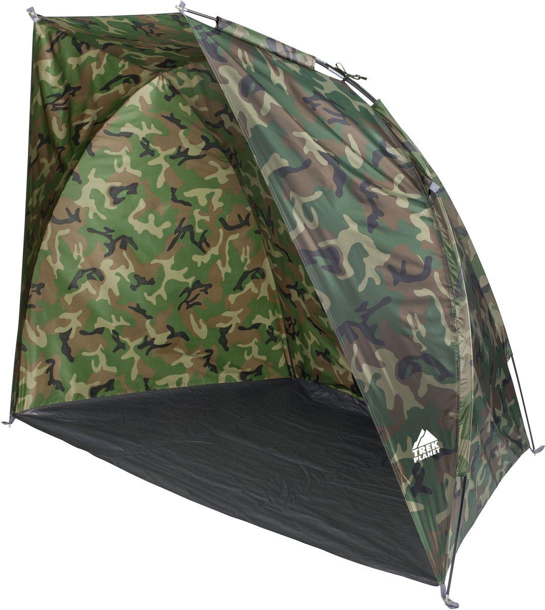Тент TREK PLANET Fish Tent 2, цвет: камуфляж70139Камуфляжный тент TREK PLANET Fish Tent 2, обеспечивает защиту от солнца и ветра и небольших осадков - идеально подойдет для любителей рыбалки или охоты. Внутри легко помещаются два кемпинговых стула. Очень прост в установке, имеет малый вес и удобный чехол с ручкой для переноски.Особенности модели:Простая и быстрая установка,Тент шатра из полиэстера, с пропиткой PU, за которым удобно укрыться от палящего солнца, ветра или небольших осадков,Каркас выполнен из прочного стеклопластика,Дно изготовлено из прочного армированного полиэтилена, Растяжки и колышки в комплекте. Размер: 200 х 115 х 150 см.Размер в сложенном виде: 10 х 10 х 65 см.Материал внешнего тента: 100% полиэстер, пропитка PU.Водостойкость: 1000 мм.Материал пола: 100% армированный полиэтилен.Материл дуги: стекловолокно 7,9 мм.Вес: 1,3 кг.