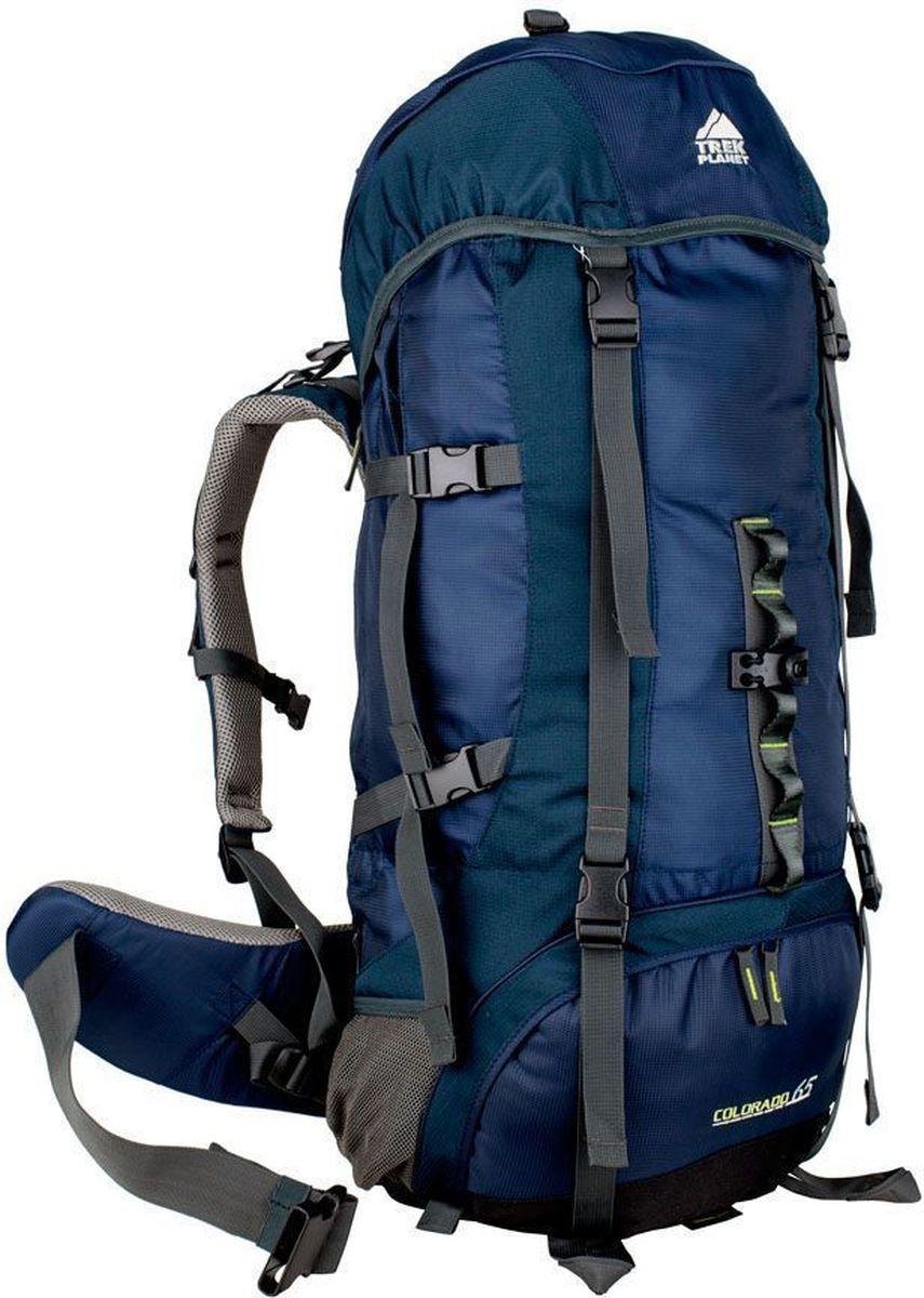 Рюкзак туристический TREK PLANET Colorado 65, цвет: синий, темно-синий, 65 л67742Практичный туристический рюкзак TREK PLANET Colorado 65 станет отличным выбором для любителей походов и кемпингов. Анатомическая вентилируемая спина обеспечивает максимальный комфорт и стабилизацию рюкзака на спине. Оптимальное распределение нагрузки выполняет регулируемая система жесткой подвески V1. Объем рюкзака регулируется вертикальными и горизонтальными стропами. Дополнительный вход в нижнее отделение и два глубоких кармана на молнии по бокам.Особенности рюкзака: 2 глубоких кармана на молнии по бокам,2 боковых сетчатых кармана на резинке,Карман на поясном ремне,Дополнительные лямки внизу для крепления снаряжения,2 кармана в верхнем клапане,Дополнительный вход в нижнее отделение Компрессионные ремни.Съемный чехол от дождя.Объем рюкзака: 65 л.