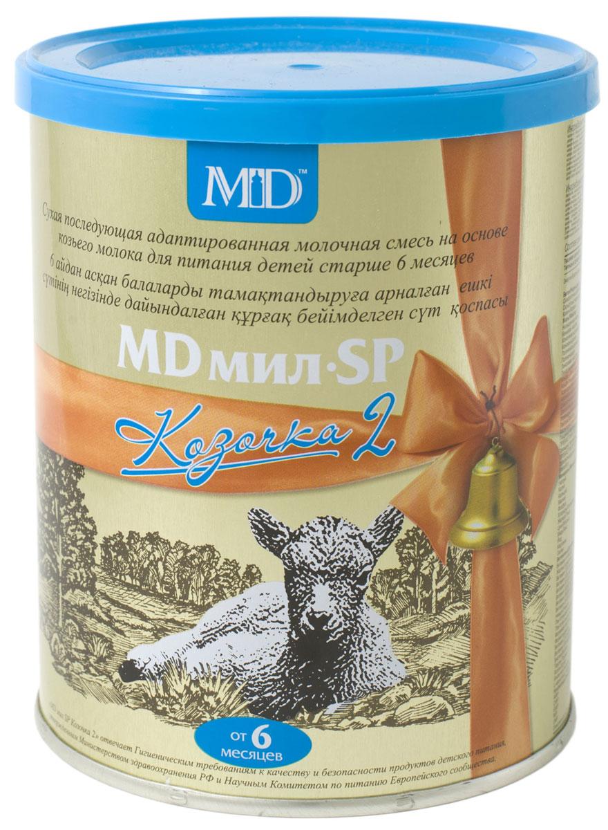 MD Мил SP Козочка 2 молочная смесь, с 6 до 12 месяцев, 400 г00000009649MD мил SP Козочка 2 - смесь на основе козьего молока с добавлением сывороточных белков козьего молока. Благодаря содержанию высококачественного белка и растительных масел, MD мил SP Козочка 2 легко усваивается и хорошо переносится.