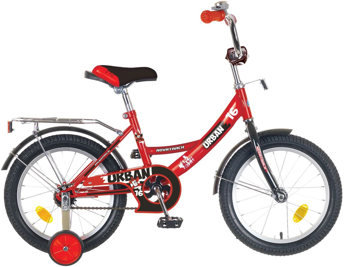 Велосипед детский Novatrack Urban, цвет: красный, 16KBO-1014Велосипед Novatrack Urban c 16-дюймовыми колесами это надежный велосипед для ребят 5-7 лет. Высокое качество сборки гарантирует, что велосипед прослужит долго, даже если ваш ребенок будет гонять на нем ежедневно по несколько часов подряд. Велосипед оснащен защитой цепи, которая не позволит ногам и одежде попасть в мезанизм. Велосипед оборудован багажником обязательным атрибутом любого детского велосипеда. Для безопасности установлено целых 4 светоотражателя задний, передний и по одному на каждом из основных колес. Колеса закрыты крыльями, которые защитят ребенка от грязи и брызг. А ножной тормоз позволит быстро остановиться, в случае необходимости.