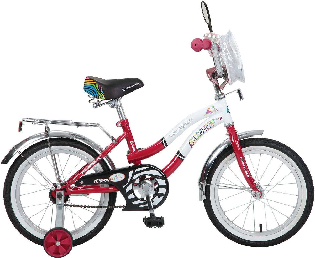 Велосипед детский Novatrack Зебра, цвет: красный, белый, 16165ZEBRA.RD6Novatrack Зебра c 16-дюймовыми колесами - это надежный велосипед для ребят от 5 до 7 лет. Данная модель специально разработана для начинающих велосипедистов: дополнительные колеса, которые можно будет снять, когда ребенок научится держать равновесие, блестящий багажник для перевозки игрушек, надежный ножной тормоз, защита цепи от попадания одежды в механизм - все это сделает каждую поездку юного велосипедиста комфортной и безопасной. Маленькому велосипедисту, будь то мальчик или девочка, обязательно понравятся блестящий звонок и зеркальце заднего вида, которые установлены на руле велосипеда. Высота сидения и руля регулируются, поэтому велосипед прослужит ребенку не один год.