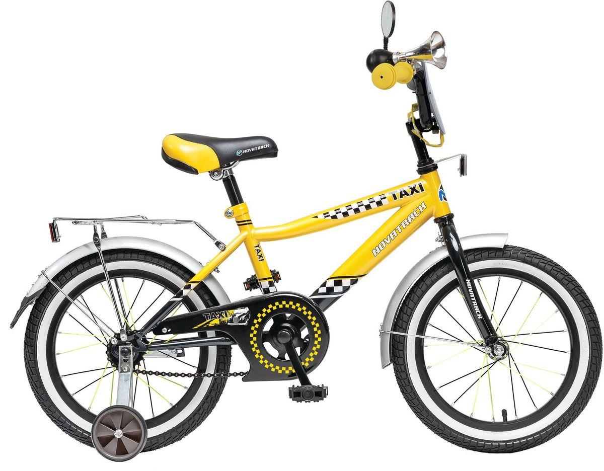 Велосипед детский Novatrack Такси, цвет: желтый, 16KBO-1014Велосипед Novatrack Taxi c 16-дюймовыми колесами это велосипед для мальчиков в возрасте от 5 до 7 лет. Дизайнеры позаботились о том, чтобы велосипед понравился будущему велогонщику стильный дизайн завсегдатая городских дорог, надежный багажник для перевозки игрушек и прочих нужностей, на руле установлено зеркало заднего вида и гудок, такой же громкий, как у настоящих автомобилистов. На велосипед Novatrack Taxi 16 установлена мягкая накладка и декоративный щиток на руле, защита цепи, которая не позволит штанине попасть в механизм, надежный ножной тормоз, для того, чтобы быстро останавливаться в случае необходимости.