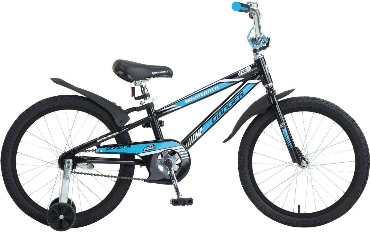 Велосипед детский Novatrack Dodger, цвет: черный, голубой, 20205ADODGER.BK5Novatrack Dodger разработан специально для мальчишек 5-7 лет. Это надежный и верный железный конь, с которым совершенно не стыдно показаться в приличном мальчишечьем обществе. Более того, такая техника станет предметом особой гордости юного велогонщика. Судите сами: легкая алюминиевая рама, регулируемые по высоте сиденье и руль, стильные хромированные крылья, внушительные колеса 20. Добавьте к этому серьезный велосипедный звонок, задний ножной тормоз, защиту цепи и катафоты - получается техника почти что представительского класса! Велосипед легкий, прочный и надежный, способный с честью пройти все краш-тесты, которые устроит ему юный владелец. Надежная конструкция, небольшой вес и хорошее качество сборки гарантируют вашему ребенку массу удовольствия и незабываемых приключений.