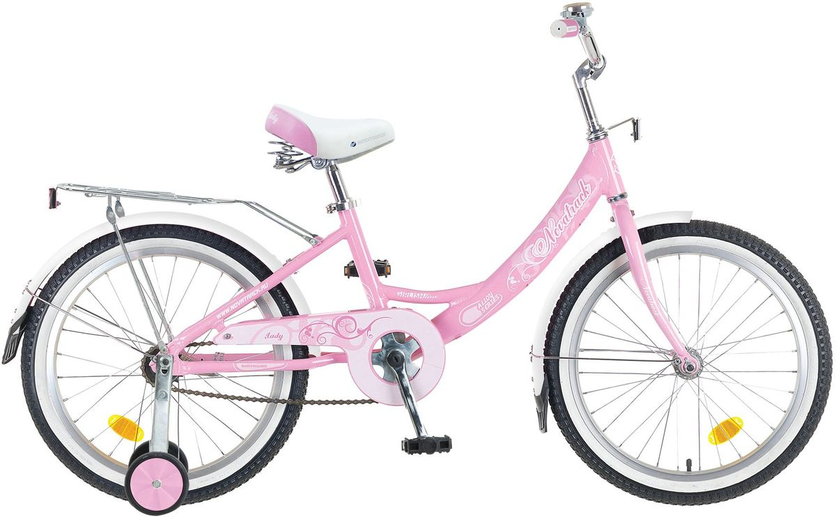 """Велосипед детский Novatrack Girlish Line, цвет: розовый, белый, 20205AGIRLISH.WT5Novatrack Girlish Line – это яркий, простой в управлении и неприхотливый в обслуживании велосипед для девочек 7-10 лет. С первого взгляда можно понять, что это не просто велосипед, а средство передвижения настоящей леди с тонким вкусом. Модель достаточно легкая, но прочная и надежная благодаря алюминиевой раме. Большие колеса 20"""" и седло с пружинами обеспечат мягкую езду даже по неровной дороге. Надежное торможение гарантирует задний ножной тормоз тормоз. Светоотражатели обозначат местоположение велосипеда в сумерках, что важно для безопасности ребенка, а специальный кожух защитит ноги и одежду ребенка от соприкосновения с цепью. Удлиненные крылья снабжены брызговиками, позволяющими сохранить одежду чистой, даже если на пути встретится лужа. Качество сборки гарантирует абсолютную надежность. Novatrack Girlish Line не подведет свою хозяйку на крутом спуске и не сломается в самый неподходящий момент."""