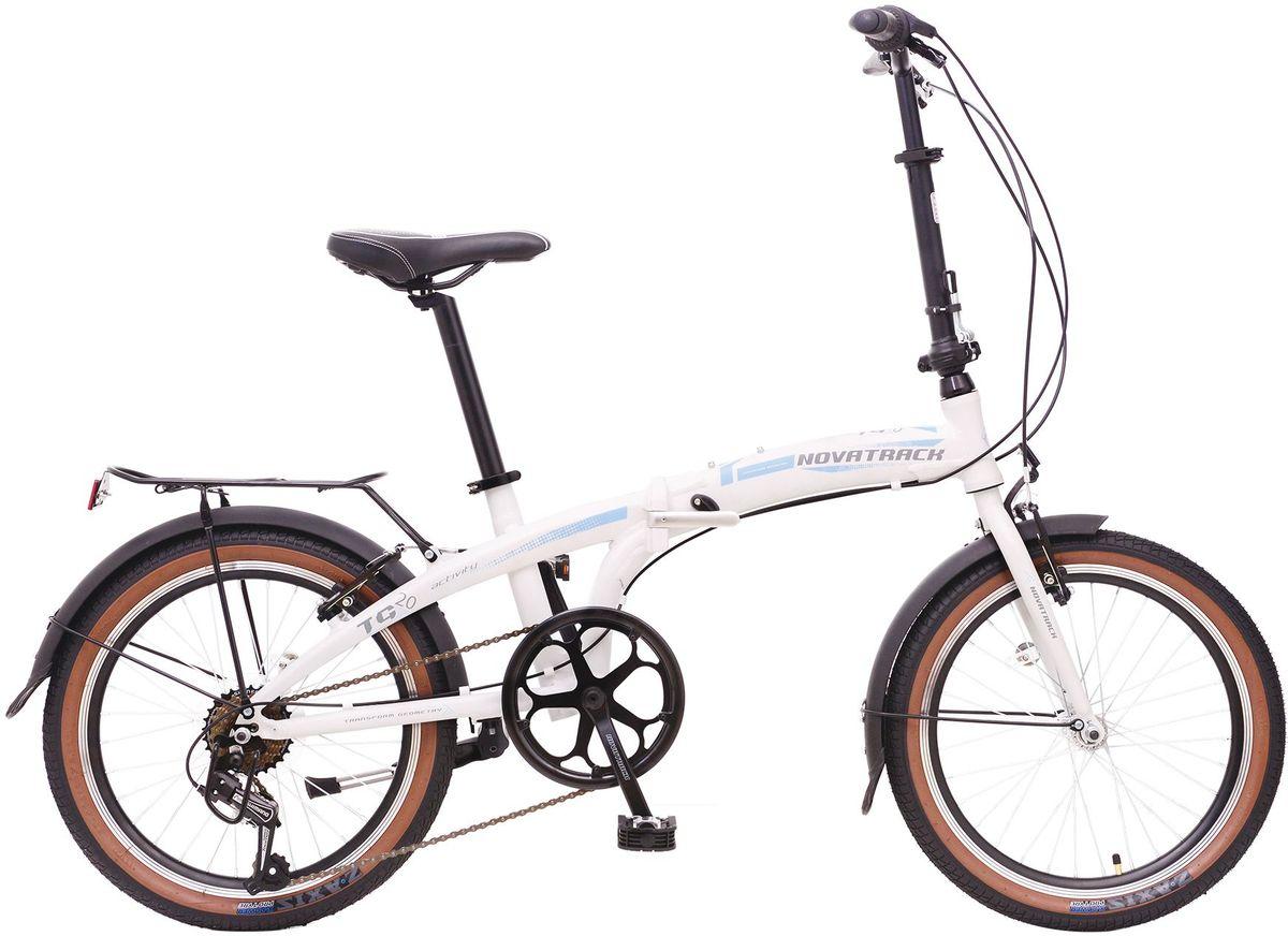 Велосипед складной Novatrack TG-20, цвет: белый, черный, голубой, 20WRA523700Novatrack TG-20 -это практичный складной велосипед, который отличается своей простотой управления, компактностью и универсальностью. Поместить такой велосипед на балконе, в шкафу или перевести в багажнике автомобиля не составит труда. Складной велосипед оснащен переключением скоростей, оптимизированным оборудованием Shimano, которое обеспечивает выбор между 7 скоростными режимами. Рама велосипеда очень прочная, так как выполнена из высококачественного алюминиевого сплава, но в тоже время легкая, поэтому катание на таком велосипеде- одно удовольствие.
