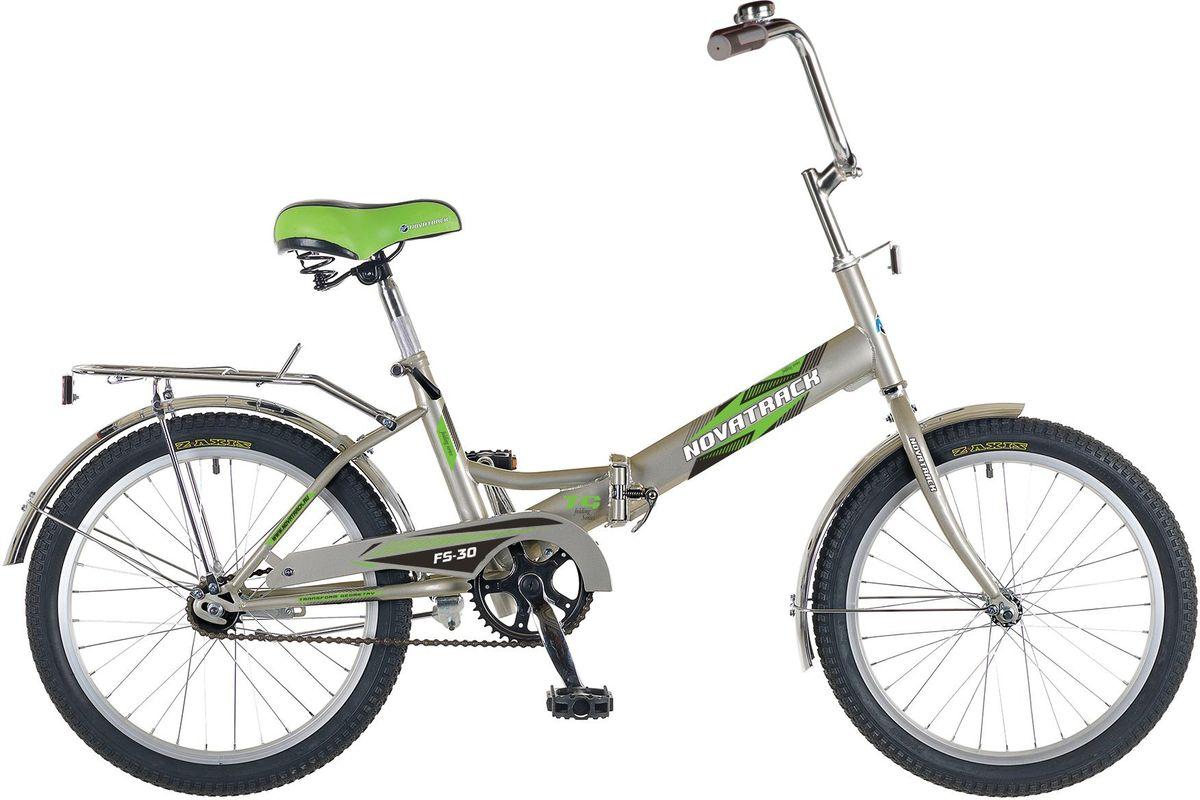 Велосипед детский Novatrack FS-30, цвет: серебристый, белый, зеленый, 20KBO-1014Novatrack FS-30 - это складной подростковый велосипед, рассчитанный на ребят 8-14 лет, который отличается неприхотливостью, хорошей управляемостью и практичностью. Стальная рама складывается пополам, позволяя разместить велосипед в автомобиле или компактно хранить его в домашних условиях. Стоит отметить широкий диапазон регулировки высоты сидения и руля, благодаря чему велосипед универсален и подойдет для ребят различного роста. Торможение осуществляется ножным тормозом, который работает при любых условиях. Велосипед оснащен хромированными крыльями, широким усиленным багажником, защитным кожухом цепи, подножкой и светоотражателями.
