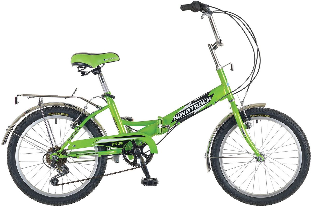 Велосипед складной Novatrack FS-30, цвет: светло-зеленый, 2020FTG201.RD7Novatrack FS-30 20'' – это складной универсальный велосипед , предназначенный практически для любого возраста, который отличается неприхотливостью, хорошей управляемостью и практичностью. Стальная рама складывается пополам, позволяя разместить велосипед в автомобиле или компактно хранить его в домашних условиях. Стоит отметить широкий диапазон регулировки высоты сидения и руля, благодаря чему велосипед универсален и подойдет для ребят различного роста. Торможение осуществляется ножным тормозом, который работает при любых условиях. Велосипед оснащен хромированными крыльями, широким усиленным багажником, защитным кожухом цепи, подножкой и светоотражателями.