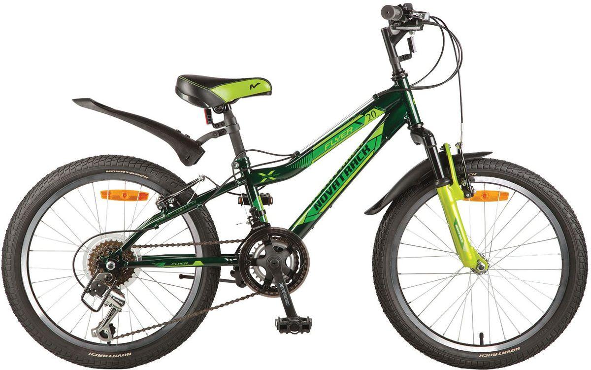 Велосипед детский Novatrack Flyer, цвет: зеленый, 20KBO-1014Велосипед Novatrack Flyer 20''- это велосипед для ребят 7-10 лет, коорый позволит легко освоить азы катания на скоростном велосипеде. Привлекательный дизайн, надежная сборка, легкость и отличная управляемость – это еще не все плюсы данной модели. Велосипед укомплектовали мягким регулируемым седлом, которое обеспечит удобную посадку во время катания. Руль велосипеда также регулируется по высоте и наклону, благодаря чему велосипед прослужит ребенку не один год. 12-скоростей, которые очень просто переключать, превратят любую поездку в увлекательный процесс. Передний амортизатор превращает велосипед в настоящий байк-внедорожник, который готов покорять городские дворы и парки. Для безопасности на велосипед установлены светоотражатели: на переднем и заднем колесе, а также на руле и подседельном штыре. Надежные тормоза типа V-brake позволят быстро затормозить в необходимый момент.