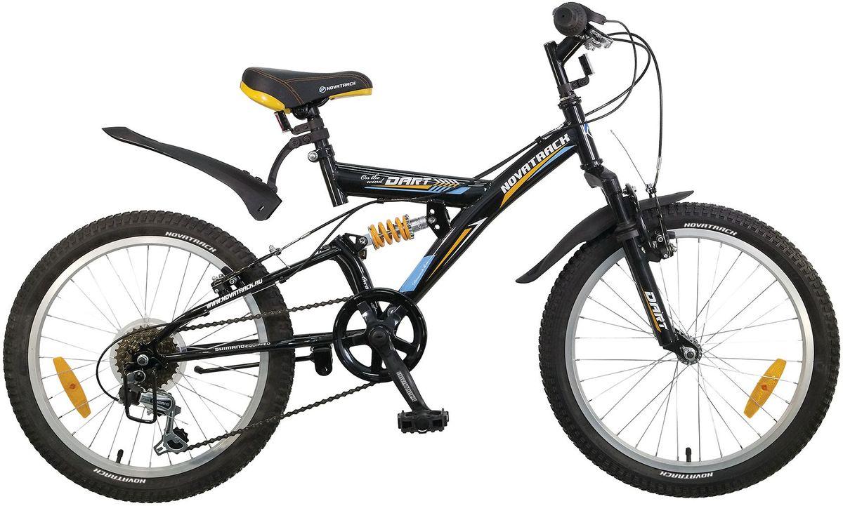 Велосипед детский Novatrack Dart, цвет: черный, желтый, 20. 20SS6V.DART.BK5MHDR2G/AВелосипед Novatrack Dart это один из велосипедов, который чаще всего выбирают ребята 7-10 лет. А в этом возрасте они уже четко знают, чего хотят! Велосипед имеет передний и задний амортизаторы, как на больших спортивных велосипедах, переключатель скоростей на руле, целых два тормоза – передний и задний, которыми, как показывает практика, дети быстро учатся управлять. Велосипед оборудован мягким регулируемым седлом, которое обеспечит удобную посадку во время катания. Руль велосипеда также регулируется по высоте, благодаря чему велосипед долго будет соответствовать росту ребенка. Novatrack Dart самая подходящая модель для катания не только во дворе, но и в парках, а также за городом.