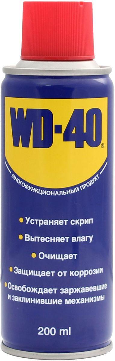 Смазка универсальная WD-40, 200 мл790009Средство универсальное WD-40 для тысячи применений на работе и в быту! WD-40 помогает деталям и механизмам работать исправно и эффективно. Устраняет скрип, вытесняет влагу с металлических поверхностей, очищает от смолы, клея, жира, оставляет защитную пленку против коррозии. Проникает в ржавчину и освобождает болты и гайки, смазывает движущие части механизмов.