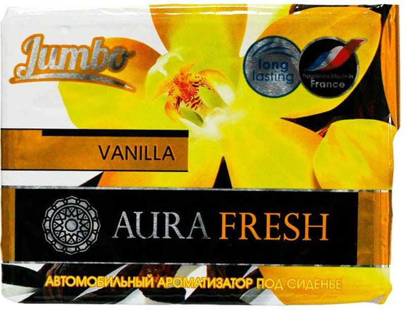 Ароматизатор автомобильный Aura Fresh Jumbo. Vanilla, под сиденьеAUR-J-0006Автомобильный ароматизатор Aura Fresh эффективно устраняет неприятныезапахи и придает легкий приятный аромат. Сочетание геля с парфюмами наилучшего качества обеспечивает устойчивый запах. Благодаря удобной конструкции, его можно положить под сиденье.