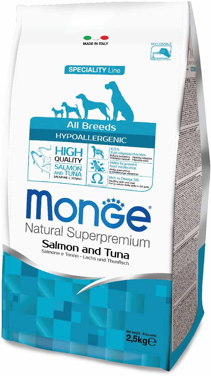Корм сухой Monge Dog Speciality Hypoallergenic, для собак, гипоаллергенный, с лососем и тунцом, 2,5 кг0120710Полнорационный корм на основе риса, лосося и тунца для взрослых собак всех пород с особыми потребностями. Разработан на основе лосося северного моря, богат омега-3 и омега-6 жирными кислотами, которые позволяют предупредить воспалительные процессы и сохранить здоровье кожи и шерсти вашего питомца.Лосось и тунец обогащены ксилоолигосахаридами (КОС), натуральными пербиотиками, благодаря которым корм прекрасно подходит для собак с проблемами пищеварения и кожными заболеваниями.Данный продукт предназначен для собак с заболеваниями кожи, такими, как дерматит, перхоть, зуд, а также для собак со светлой шерстью.Анализ компонентов: сырой белок 24,00%, сырые масла и жиры 12,00%, сырая клетчатка 2,00%, сырая зола 6,50%, кальций 1,40%, фосфор 1,10%, омега-6 жирные кислоты 3,60%, омега-3 жирные кислоты 0,90%.Пищевые добавки/кг: витамин А 24000 МЕ, витамин D3 1700 МЕ, витамин Е 190 мг, витамин В1 12 мг, витамин В2 15 мг, витамин В6 7 мг, витамин В12 150 мг, биотин 20 мг, ниацин 30 мг, витамин С 200 мг, пантотеновая кислота 18 мг, фолиевая кислота 1,70 мг, холина хлорид 2500 мг, инозитол 3,60 мг, Е5 сульфат марганца моногидрат 32 мг, Е6 оксид цинка 150 мг, Е4 сульфат меди пентагидрат 13 мг, Е1 сульфат железа моногидрат 110 мг, Е8 селенит натрия 0,20 мг, Е2 йодат кальция 1,80 мг, L-карнитин 100 мг, DL-метионин 1,60г. Технологические добавки/кг: натуральная смесь из токоферола и экстракта розмарина обыкновенного.Энергетическая ценность: 3 940 ккал/кг. Ингредиенты: рис (58%), лосось (10% дегидрированного и 8% свежего лосося), тунец (10% дегидрированного), пивные дрожжи (источник МОС и витамина B12), растительное масло (консервированное с помощью натуральных антиоксидантов), рыбий жир (масло лосося, консервированное с помощью натуральных антиоксидантов), сухая свекольная пульпа, юкка Шидигера, КОС (ксилоолигосахариды 3г/кг), гидролизованные дрожжи (МОС), гидролизованные хрящи 