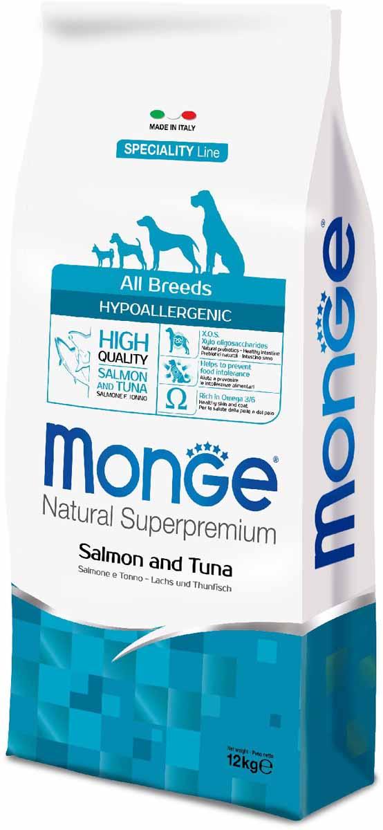 Корм сухой Monge Dog Speciality Hypoallergenic, для собак, гипоаллергенный, с лососем и тунцом, 12 кг70011174Полнорационный корм на основе риса, лосося и тунца для взрослых собак всех пород с особыми потребностями. Разработан на основе лосося северного моря, богат омега-3 и омега-6 жирными кислотами, которые позволяют предупредить воспалительные процессы и сохранить здоровье кожи и шерсти вашего питомца.Лосось и тунец обогащены ксилоолигосахаридами (КОС), натуральными пербиотиками, благодаря которым корм прекрасно подходит для собак с проблемами пищеварения и кожными заболеваниями.Данный продукт предназначен для собак с заболеваниями кожи, такими, как дерматит, перхоть, зуд, а также для собак со светлой шерстью.Анализ компонентов: сырой белок 24,00%, сырые масла и жиры 12,00%, сырая клетчатка 2,00%, сырая зола 6,50%, кальций 1,40%, фосфор 1,10%, омега-6 жирные кислоты 3,60%, омега-3 жирные кислоты 0,90%.Пищевые добавки/кг: витамин А 24000 МЕ, витамин D3 1700 МЕ, витамин Е 190 мг, витамин В1 12 мг, витамин В2 15 мг, витамин В6 7 мг, витамин В12 150 мг, биотин 20 мг, ниацин 30 мг, витамин С 200 мг, пантотеновая кислота 18 мг, фолиевая кислота 1,70 мг, холина хлорид 2500 мг, инозитол 3,60 мг, Е5 сульфат марганца моногидрат 32 мг, Е6 оксид цинка 150 мг, Е4 сульфат меди пентагидрат 13 мг, Е1 сульфат железа моногидрат 110 мг, Е8 селенит натрия 0,20 мг, Е2 йодат кальция 1,80 мг, L-карнитин 100 мг, DL-метионин 1,60г. Технологические добавки/кг: натуральная смесь из токоферола и экстракта розмарина обыкновенного.Энергетическая ценность: 3 940 ккал/кг.Ингредиенты: рис (58%), лосось (10% дегидрированного и 8% свежего лосося), тунец (10% дегидрированного), пивные дрожжи (источник МОС и витамина B12), растительное масло (консервированное с помощью натуральных антиоксидантов), рыбий жир (масло лосося, консервированное с помощью натуральных антиоксидантов), сухая свекольная пульпа, юкка Шидигера, КОС (ксилоолигосахариды 3г/кг), гидролизованные дрожжи (МОС), гидролизованные хрящи (