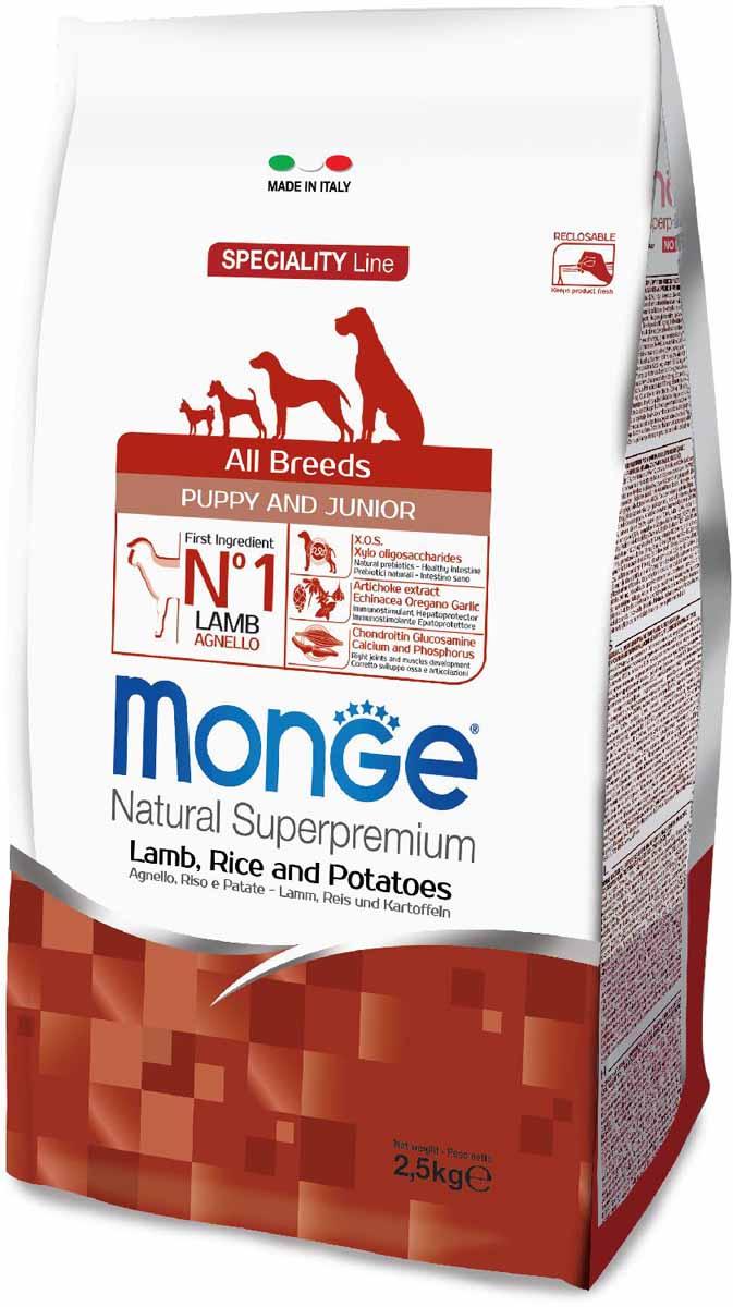 Корм сухой Monge Dog Speciality Puppy&Junior, для щенков всех пород, с ягненком, рисом и картофелем, 2,5 кг0120710Полнорационный корм предназначен для щенков и молодых собак всех пород в возрасте от 2 до 12 месяцев, а также в период беременности и лактации. Идеально подходит для собак, нуждающихся в питании с низким содержанием холестерина. Ингредиенты, входящие в состав, помогают бороться с аллергическими реакциями и воспалениями и подходит для собак с проблемами пищеварения. Входящие в состав ФОС (фруктоолигосахариды) поддерживают здоровую микрофлору кишечника.Мясо ягненка и рис - это гарантия правильного усвоения белков и углеводов. Высокое содержание сбалансированных омега-3 и омега-6 жирных кислот, цинка и биотина обеспечивает блестящую шерсть и здоровую кожу питомца.Глюкозамин, хондроитин и МСМ благотворно влияют на здоровье суставов и всего костного аппарата, помогают предотвратить возникновение болезней суставов.Анализ компонентов: сырой белок 30,00%, сырые масла и жиры 18,00%, сырая клетчатка 2,00%, сырая зола 7,00%, кальций 1,80%, фосфор 1,10%, омега-6 жирные кислоты 5,20%, омега-3 жирные кислоты 0,90%.Пищевые добавки/кг: витамин А 26000 МЕ, витамин D3 1800 МЕ, витамин Е 200 мг, витамин В1 20 мг, витамин В2 25 мг, витамин В6 12 мг, витамин В12 230 мг, биотин 22 мг, ниацин 60 мг, витамин С 165 мг, пантотеновая кислота 30 мг, фолиевая кислота 2,90 мг, холина хлорид 2500 мг, инозитол 3,60 мг, Е5 сульфат марганца моногидрат 32 мг, Е6 оксид цинка 150 мг, Е4 сульфат меди пентагидрат 13 мг, Е1 сульфат железа моногидрат 110 мг, Е8 селенит натрия 0,20 мг, Е2 йодат кальция 1,80 мг, L-карнитин 100 мг, DL-метионин 1,60г. Технологические добавки/кг: натуральная смесь из токоферола и экстракта розмарина обыкновенного. Органолептические добавки/кг: натуральный экстракт каштана 20 мг, экстракт артишока 300 мг.Энергетическая ценность: 4 200 ккал/кг.Ингредиенты: ягненок (30% дегидрированного и 10% свежего мяса), рис, кукуруза, животный жир (куриное жир 99,5%, консервированн
