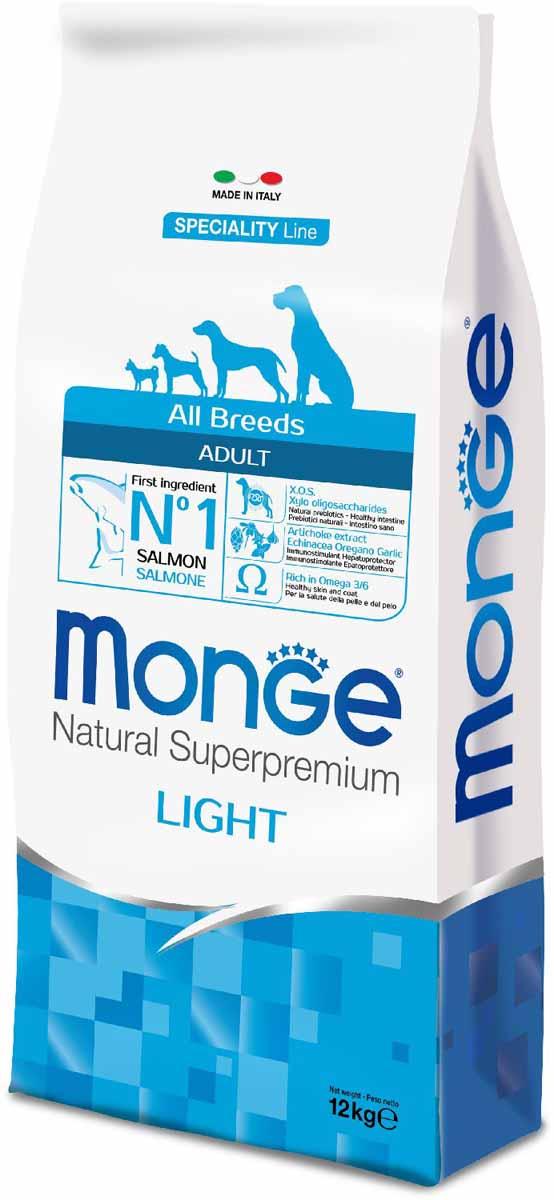 Корм сухой Monge Dog Speciality Light, для собак всех пород, низкокалорийный, с лососем и рисом, 12 кг0120710Полнорационный корм на основе лосося и риса для взрослых собак всех пород с особыми потребностями. Разработан на основе лосося северного моря, богат омега-3 и омега-6 жирными кислотами, которые позволяют предупредить воспалительные процессы и сохранить здоровье кожи и шерсти вашего питомца.Лосось и рис гарантируют правильное усвоение белков и углеводов. Корм прекрасно подходит для собак с проблемами пищеварения и кожными заболеваниями. Данный продукт предназначен для собак с заболеваниями кожи, такими, как дерматит, перхоть, зуд, а также для собак со светлой шерстью. Глюкозамин, хондроитин и МСМ благотворно влияют на здоровье всего костного аппарата, помогают предотвратить возникновение болезней суставов.Анализ компонентов: сырой белок 24,00%, сырые масла и жиры 12,00%, сырая клетчатка 2,50%, сырая зола 6,00%, кальций 1,40%, фосфор 0,90%, омега-6 жирные кислоты 3,50%, омега-3 жирные кислоты 0,70%.Пищевые добавки/кг: витамин А 24000 МЕ, витамин D3 1400 МЕ, витамин Е 190 мг, витамин В1 13 мг, витамин В2 16 мг, витамин В6 7 мг, витамин В12 145 мг, биотин 20 мг, никотиновая кислота 90 мг, витамин С 200 мг, пантотеновая кислота 20 мг, фолиевая кислота 2,30 мг, холина хлорид 3500 мг, инозитол 3,60 мг, Е5 сульфат марганца моногидрат 42 мг, Е6 оксид цинка 190 мг, Е4 сульфат меди пентагидрат 20 мг, Е1 сульфат железа моногидрат 100 мг, Е8 селенит натрия 0,40 мг, Е2 йодат кальция 3,80 мг, L-карнитин 120 мг, DL-метионин 1,6г. Технологические добавки/кг: натуральная смесь из токоферола и экстракта розмарина обыкновенного. Органолептические добавки/кг: натуральный экстракт каштана 20 мг, экстракт артишока 300 мг.Энергетическая ценность: 3 950 ккал/кг.Ингредиенты: рыба (26% дегидрированного и 10% свежего лосося), рис, кукуруза, сухая свекольная пульпа, пивные дрожжи (источник МОС и витамина B12), гидролизованный животный белок, рыбий жир (масло лосося, консервированное с по