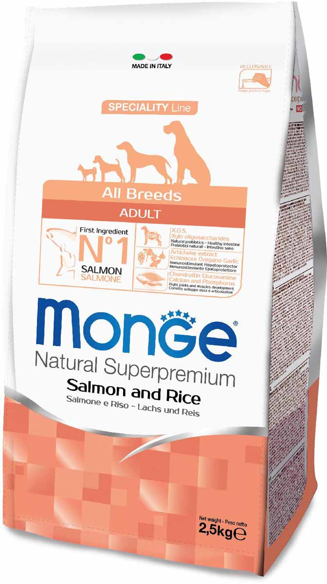 Корм сухой Monge Dog Speciality, для собак всех пород, с лососем и рисом, 2,5 кгPcRb750tMonge Dog Speciality корм для собак всех пород, лосось с рисом, 2,5 кг.Полнорационный корм на основе лосося и риса для взрослых собак всех пород с особыми потребностями. Разработан на основе лосося северного моря, богат омега-3 и омега-6 жирными кислотами, которые позволяют предупредить воспалительные процессы и сохранить здоровье кожи и шерсти вашего питомца.Лосось и рис гарантируют правильное усвоение белков и углеводов. Корм прекрасно подходит для собак с проблемами пищеварения и кожными заболеваниями. Данный продукт предназначен для собак с заболеваниями кожи, такими, как дерматит, перхоть, зуд, а также для собак со светлой шерстью. Глюкозамин, хондроитин и МСМ благотворно влияют на здоровье всего костного аппарата, помогают предотвратить возникновение болезней суставов.Анализ компонентов: сырой белок 25,00%, сырые масла и жиры 14,00%, сырая клетчатка 2,50%, сырая зола 6,50%, кальций 1,20%, фосфор 0,90%, омега-6 жирные кислоты 4,00%, омега-3 жирные кислоты 0,30%.Пищевые добавки/кг: витамин А 24000 МЕ, витамин D3 1700 МЕ, витамин Е 190 мг, витамин В1 12 мг, витамин В2 15 мг, витамин В6 7 мг, витамин В12 150 мг, биотин 20 мг, ниацин 30 мг, витамин С 200 мг, пантотеновая кислота 18 мг, фолиевая кислота 1,70 мг, холина хлорид 2500 мг, инозитол 3,60 мг, Е5 сульфат марганца моногидрат 32 мг, Е6 оксид цинка 150 мг, Е4 сульфат меди пентагидрат 13 мг, Е1 сульфат железа моногидрат 110 мг, Е8 селенит натрия 0,20 мг, Е2 йодат кальция 1,80 мг, L-карнитин 100 мг, DL-метионин 1,60г. Технологические добавки/кг: натуральная смесь из токоферола и экстракта розмарина обыкновенного. Органолептические добавки/кг: натуральный экстракт каштана 20 мг, экстракт артишока 300 мг.Энергетическая ценность: 4 020 ккал/кг.Ингредиенты: лосось (26% дегидрированного и 10% свежего), рис, сухая свекольная пульпа, пивные дрожжи (источник МОС и витамина B12), животный жир (лосося, консервированный с помощью натура