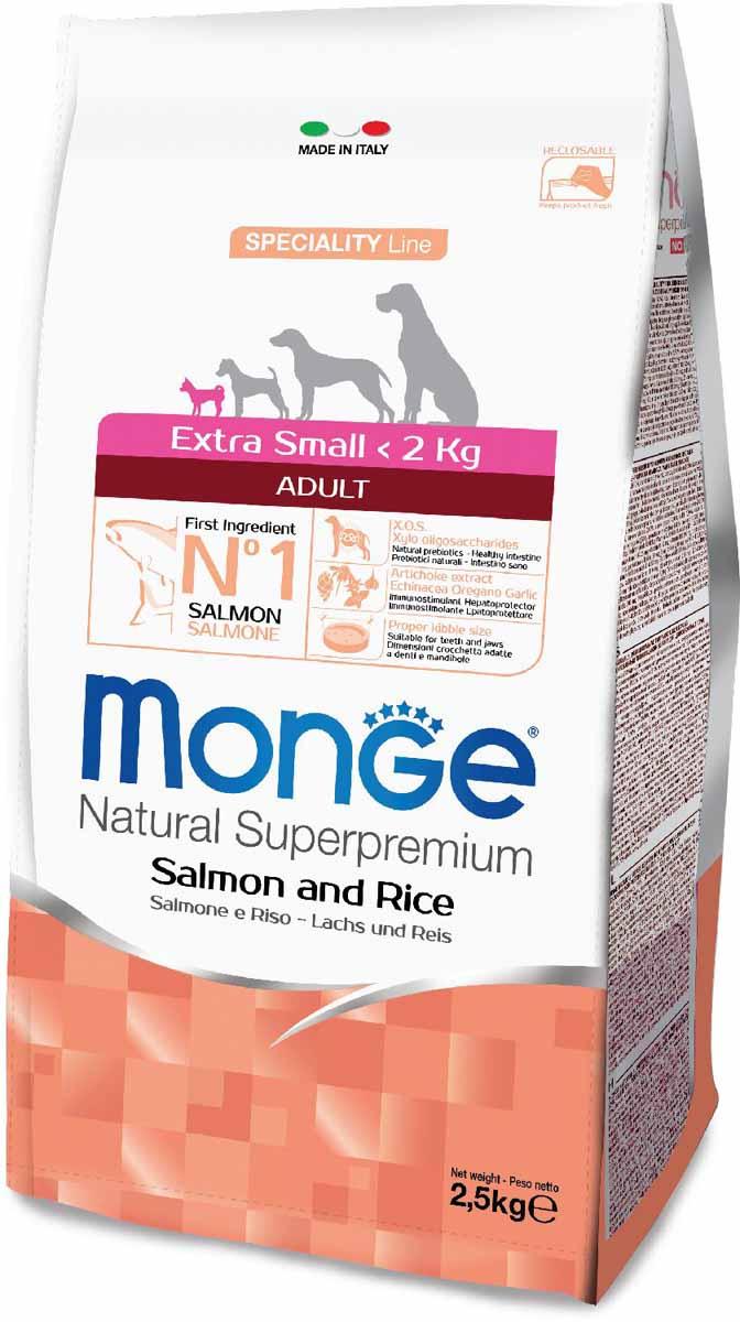 Корм сухой Monge Dog Speciality Extra Small, для взрослых собак миниатюрных пород, с лососем и рисом, 2,5 кг0120710Полнорационный корм на основе лосося и риса. Специально разработан для ежедневного кормления взрослых собак миниатюрных пород с нормальной физической активностью.Анализ компонентов: сырой белок 26,00%, сырые масла и жиры 15,00%, сырая клетчатка 2,50%, сырая зола 5,00%, кальций 1,20%, фосфор 0,80%, омега-6 жирные кислоты 6,40%, омега-3 жирные кислоты 0,70%.Пищевые добавки/кг: витамин А 23000 МЕ, витамин D3 1600 МЕ, витамин Е 200 мг, витамин В1 10 мг, витамин В2 13 мг, витамин В6 6 мг, витамин В12 125 мг, биотин 17 мг, ниацин 26 мг, витамин С 180 мг, пантотеновая кислота 15 мг, фолиевая кислота 1,40 мг, холина хлорид 2500 мг, инозитол 3,00 мг, Е5 сульфат марганца моногидрат 35 мг, Е6 оксид цинка 160 мг, Е4 сульфат меди пентагидрат 13 мг, Е1 сульфат железа моногидрат 110 мг, Е8 селенит натрия 0,22 мг, Е2 йодат кальция 1,80 мг, L-карнитин 105 мг, DL-метионин 7,30г. Технологические добавки/кг: натуральная смесь из токоферола и экстракта розмарина обыкновенного. Органолептические добавки/кг: натуральный экстракт каштана 20 мг, экстракт артишока 300 мг.Энергетическая ценность: 4 130 ккал/кг. Ингредиенты: лосось (30% дегидрированной и 10% свежей рыбы), рис, кукуруза, животный жир (куриный жир 99,5%, консервированный с помощью натуральных антиоксидантов), сухая свекольная пульпа, картофельный белок, пивные дрожжи (источник МОС и витамина B12), кукурузный глютен, гидролизованный животный белок, рыба (дегидрированный лосось), рыбий жир (масло лосося), гидролизованные хрящи (источник хондроитина сульфата), гидролизованные ракообразные (источник глюкозамина), метилсульфонилметан, КОС (ксилоолигосахариды 3г/кг), гидролизованные дрожжи (источник МОС), юкка Шидигера, спирулина, корень эхинацеи, орегано, порошок сушеного чеснока. Индивидуальная непереносимость. Рекомендации по кормлению: корм можно подавать сухим или размоченным теплой водой. Суточная норма может варьир