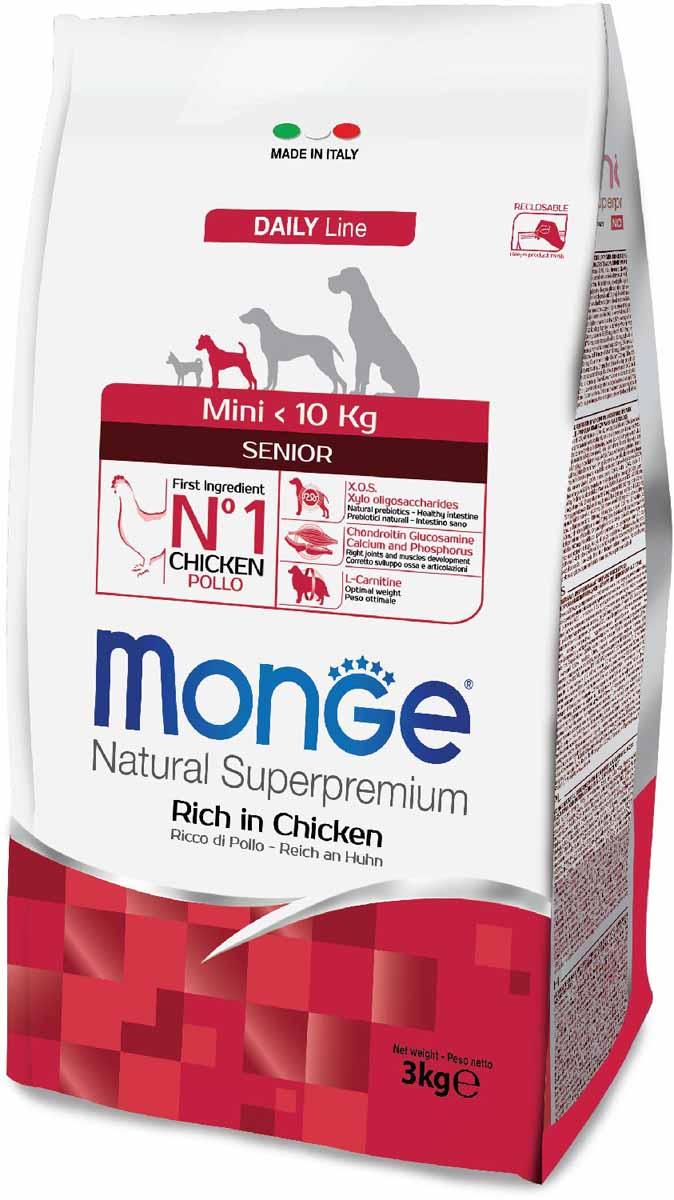 Корм сухой Monge Dog Mini, для пожилых собак мелких пород, 3 кг0120710Monge Dog Speciality MINI SENIOR - полноценный сбалансированный рацион для пожилых собак мелких пород.Содержание X.O.S. помогает сохранить естественный баланс кишечной микрофлоры, способствует оптимальному усвоению питательных веществ и повышает иммунитет.Глюкозамин, хондроитин, кальций и фосфор для здоровья суставов. Эти вещества в составе корма способствуют нормальному функционированию суставов опорно-двигательного аппарата.L-карнитин для улучшения обменных и энергетических процессов в мышцах. Активизирует жировой обмен, поддерживает нормальную работу сердца и печени, стимулирует регенерацию клеток. Способствует поддержанию оптимального веса животного.Омега-3 и омега-6 жирные кислоты для красоты шерсти и здоровья кожи. Оптимальный баланс омега-3 и омега-6 в составе корма чрезвычайно важен для поддержания кожи и шерсти в отличном состоянии. Анализ компонентов: сырой белок 28,00%, сырые масла и жиры 14,00%, сырая клетчатка 5,00%, сырая зола 6,50%, кальций 1,20%, фосфор 1,00%, омега-6 жирные кислоты 4,20%, омега-3 жирные кислоты 0,70%.Пищевые добавки/кг: витамин А 24000 МЕ, витамин D3 1600 МЕ, витамин Е 200 мг, витамин В1 11 мг, витамин В2 14 мг, витамин В6 6 мг, витамин В12 125 мг, биотин 17 мг, ниацин 26 мг, витамин С 200 мг, пантотеновая кислота 15 мг, фолиевая кислота 1,40 мг, холина хлорид 4000 мг, инозитол 3,00 мг, Е5 сульфат марганца моногидрат 35 мг, Е6 оксид цинка 160 мг, Е4 сульфат меди пентагидрат 13 мг, Е1 сульфат железа моногидрат 110 мг, Е8 селенит натрия 0,14 мг, Е2 йодат кальция 1,80 мг, L-карнитин 130 мг, DL-метионин 6,20 г. Технологические добавки/кг: натуральная смесь из токоферола и экстракта розмарина обыкновенного. Органолептические добавки/кг: натуральный экстракт каштана 20 мг.Энергетическая ценность: 3900 ккал/кг. Ингредиенты: курица (30% дегидрированного и 10% свежего мяса), рис, овес (источник ценных пищевых волокон), сухая свекольная пульпа, животный жир (куриный жир 99,