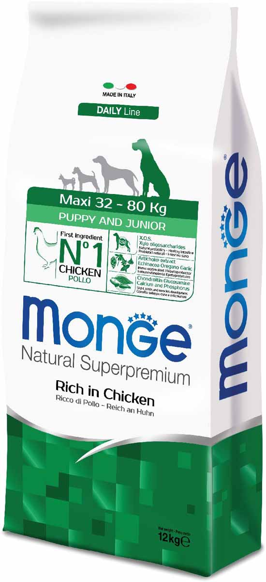 Корм сухой Monge Dog Maxi, для щенков крупных пород, 12 кг0120710Monge Dog Maxi корм для щенков крупных пород, 12 кг.Полнорационный корм для собак на основе мяса цыпленка и риса. Рекомендуется для щенков и молодых собак крупных пород возрастом от 2 до 12 месяцев, а также для беременных и кормящих животных. Анализ компонентов: сырой белок 28,00%, сырые масла и жиры 16,00%, сырая клетчатка 2,00%, сырая зола 7,00%, кальций 1,50%, фосфор 1,10%, омега-6 жирные кислоты 6,50%, омега-3 жирные кислоты 0,90%.Пищевые добавки/кг: витамин А 26000 МЕ, витамин D3 1820 МЕ, витамин Е 200 мг, витамин В1 20 мг, витамин В2 25 мг, витамин В6 12 мг, витамин В12 240 мг, биотин 32 мг, ниацин 50 мг, витамин С 175 мг, пантотеновая кислота 30 мг, фолиевая кислота 2,80 мг, холина хлорид 3200 мг, инозитол 6,00 мг, Е5 сульфат марганца моногидрат 32 мг, Е6 оксид цинка 150 мг, Е4 сульфат меди пентагидрат 13 мг, Е1 сульфат железа моногидрат 110 мг, Е8 селенит натрия 0,20 мг, Е2 йодат кальция 1,80 мг, L-карнитин 140 мг, DL-метионин 7,20 г. Технологические добавки/кг: натуральная смесь из токоферола и экстракта розмарина обыкновенного. Органолептические добавки/кг: натуральный экстракт каштана 20 мг, экстракт артишока 300 мг.Энергетическая ценность: 4 150 ккал/кг.Ингредиенты: курица (32% дегидрированного и 10% свежего мяса), рис, кукуруза, животный жир (куриный жир 99,6%, консервированный с помощью натуральных антиоксидантов), сухая свекольная пульпа, пивные дрожжи (источник МОС и витамина B12), кукурузнаяглютеновая мука, гидролизованный животный белок, овес (источник ценных пищевых волокон), сухое цельное яйцо (с высоким содержанием ценных белков), рыба (дегидрированный лосось), рыбий жир (масло лосося), КОС (ксилоолигосахариды 3г/кг), гидролизованные дрожжи (источник МОС), юкка Шидигера, спирулина, гидролизованные хрящи (источник хондроитина сульфата), гидролизованные ракообразные (источник глюкозамина), метилсульфонилметан, корнень эхинацеи, орегано, порошок сушеного чеснока. Индивидуальная непере