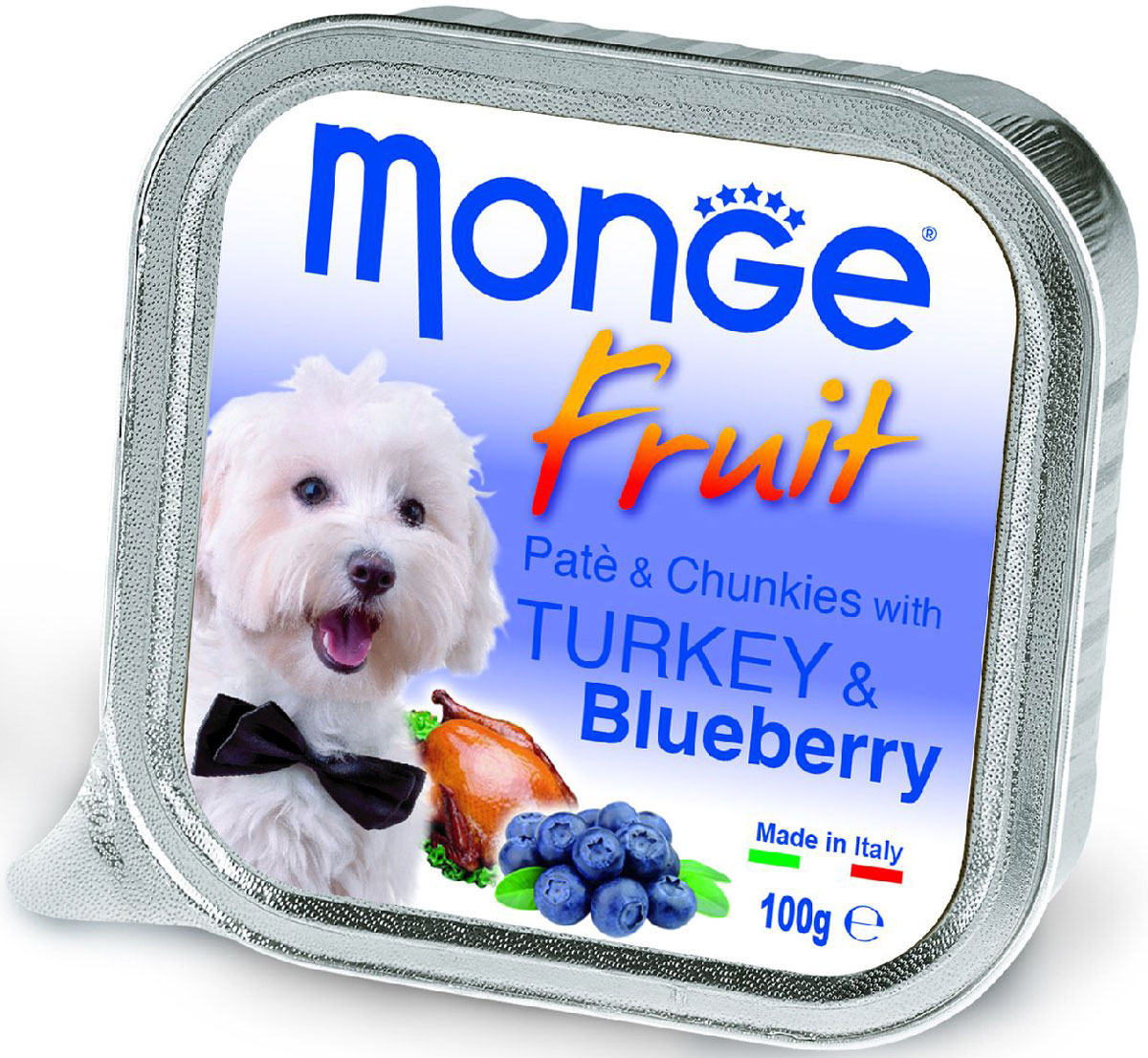 Консервы Monge Dog Fruit, для собак, с индейкой и черникой, 100 г0120710Monge Dog Fruit консервы для собак, индейка с черникой, 100 г. Полнорационный корм для собак. Паштет с индейкой и черникой.Рекомендации по кормлению: для собак средних пород минимум 400 граммов продукта в день. Подавать корм комнатной температуры. Убедитесь, что у собаки есть доступ к свежей чистой воде.Хранить при комнатной температуре, после вскрытия - в холодильнике.Гарантированный анализ: сырой белок 8,5%, сырые масла и жиры 7%, сырая зола 2,2%, сырая клетчатка 0,5%. Влажность 80%.Пищевые добавки/кг: витамин А 3000 МЕ, витамин D3 400 МЕ, витамин Е 15 мг. Ингредиенты: свежее мясо 80% (из которого мяса индейки мин. 10%), черника 4%, минеральные вещества, витамины. Технологические добавки: загустители и желеобразующие компоненты. Пищевые добавки/кг: витамин А 3000 МЕ, витамин D3 400 МЕ, витамин Е 15 мг.Рекомендации по кормлению: продукт подавать комнатной температуры или подогретый. Важно, чтобы животное всегда имело доступ к чистой, свежей воде. Собакам мелких пород необходимо минимум 400 г продукта в день. Количество корма может варьироваться в зависимости от индивидуальных потребностей животного. Открытую упаковку хранить в холодильнике.