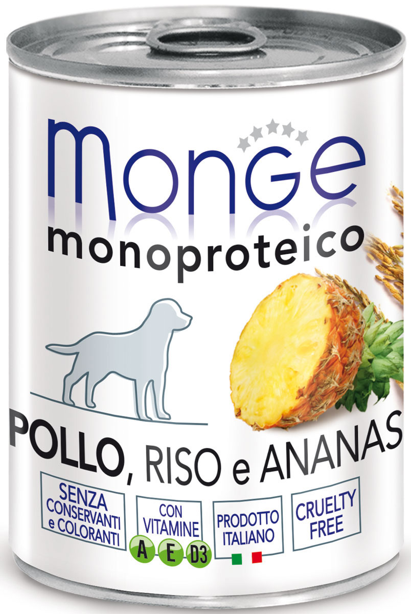 Консервы Monge Dog Monoproteico Fruits, для собак, паштет из курицы с рисом и ананасами, 400 г0120710Monge Dog Monoproteico Fruits консервы для собак, паштет из курицы с рисом и ананасами, 400 г. Паштет из курицы с рисом и ананасами. Гарантированный анализ: сырой белок 8,1%, сырые масла и жиры 6,5%, сырая зола 1,5%, сырая клетчатка 0,8%, влажность 80%. Пищевые добавки/кг: витамин А 2500 МЕ, витамин D3 300 МЕ, витамин Е (альфа-токоферол 91%) 7 мг. Ингредиенты: свежее мясо цыпленка 100%, злаки (рис 4,2%), кусочки ананаса (4,1%), сухой экстракт ананаса (0,5%), минеральные вещества, витамины.Технологические добавки: загустители и желеобразующие компоненты. Не содержит красителей, консервантов и глютена.Рекомендации по кормлению: собакам мелких пород необходимо около 400 г продукта в день. Количество корма может варьироваться в зависимости от индивидуальных потребностей животного. Продукт подавать комнатной температуры или подогретый. Важно, чтобы животное всегда имело доступ к чистой, свежей воде. Открытую упаковку хранить в холодильнике.