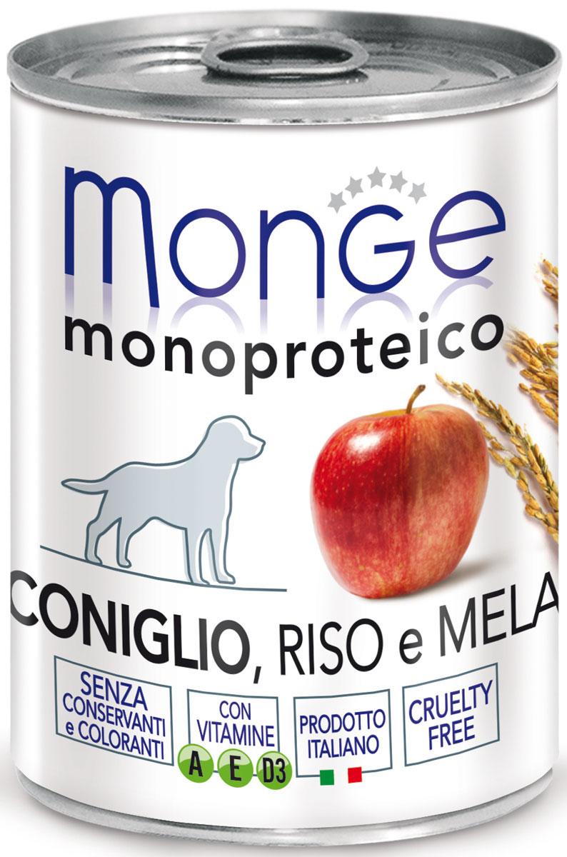 Консервы Monge Dog Monoproteico Fruits, для собак, паштет из кролика с рисом и яблоками, 400 г0120710Monge Dog Monoproteico Fruits консервы для собак, паштет из кролика с рисом и яблоками, 400 г.Полнорационный корм для собак. Паштет из кролика с рисом и яблоками. Гарантированный анализ: сырой белок 8,5%, сырые масла и жиры 5,8%, сырая зола 2%, сырая клетчатка 0,8%, влажность 80%. Пищевые добавки/кг: витамин А 2500 МЕ, витамин D3 300 МЕ, витамин Е (альфа-токоферол 91%) 7 мг.Ингредиенты: свежее мясо кролика 100%, злаки (рис 4,2%), кусочки яблока (4,1%), сухой экстракт яблока (0,5%), минеральные вещества, витамины.Технологические добавки: загустители и желеобразующие компоненты. Не содержит красителей, консервантов иглютена. Рекомендации по кормлению: собакам мелких пород необходимо около 400 г продукта в день. Количество корма может варьироваться в зависимости от индивидуальных потребностей животного. Продукт подавать комнатной температуры или подогретый. Важно, чтобы животное всегда имело доступ к чистой, свежей воде. Открытую упаковку хранить в холодильнике.