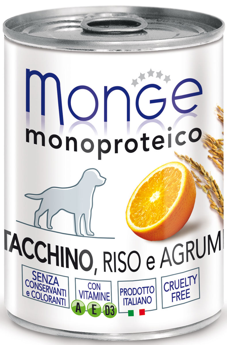 Консервы Monge Dog Monoproteico Fruits, для собак, паштет из индейки с рисом и цитрусовыми, 400 г0120710Monge Dog Monoproteico Fruits консервы для собак, паштет из индейки с рисом и цитрусовыми, 400 г.Полнорационный корм для собак. Паштет из индейки с рисом и цитрусовыми. Гарантированный анализ: сырой белок 8,1%, сырые масла и жиры 6,5%, сырая зола 2%, сырая клетчатка 0,8%, влажность 80%. Пищевые добавки/кг: витамин А 2500 МЕ, витамин D3 300 МЕ, витамин Е (альфа-токоферол 91%) 7 мг.Ингредиенты: свежее мясо индейки 100%, злаки (рис 4,2%), сухой экстракт апельсина (0,5%), минеральные вещества, витамины.Технологические добавки: загустители и желеобразующие компоненты. Не содержит красителей, консервантов иглютена. Рекомендации по кормлению: собакам мелких пород необходимо около 400 г продукта в день. Количество корма может варьироваться в зависимости от индивидуальных потребностей животного. Продукт подавать комнатной температуры или подогретый. Важно, чтобы животное всегда имело доступ к чистой, свежей воде. Открытую упаковку хранить в холодильнике.