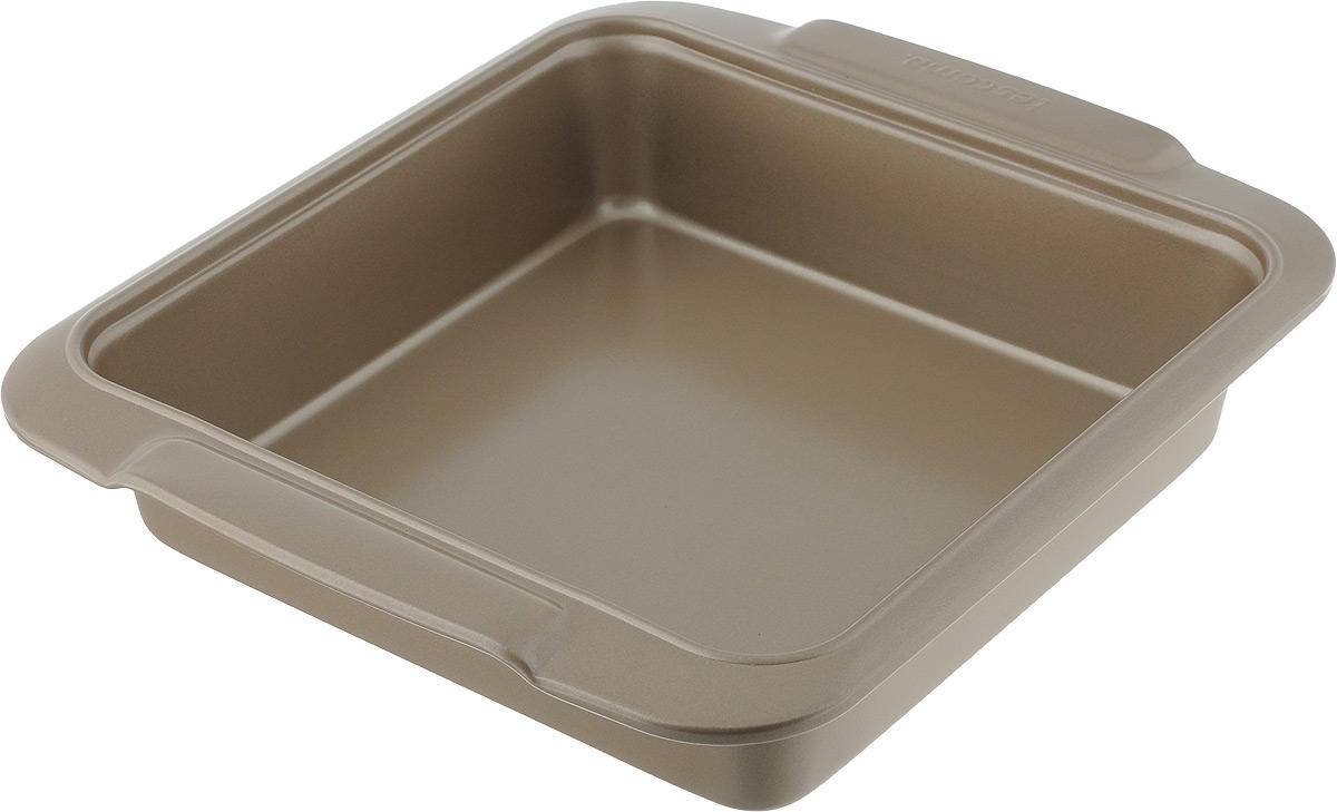 Противень Tescoma Delicia Gold, с антипригарным покрытием, 23 x 23 см54 009312Глубокий противень Tescoma Gold, выполненный из высококачественной нержавеющей стали с антипригарным покрытием, идеально подойдет для приготовления домашней выпечки.Технология антипригарного покрытия способствует оптимальному распределению тепла. Противень легко чистить и мыть. Подходит для использования в духовом шкафу, в электрических, и газовых плитах.Размер противня (с учетом ручек): 26,5 х 23 х 5,5 см.Внутренний размер противня: 20 х 20 х 5 см.