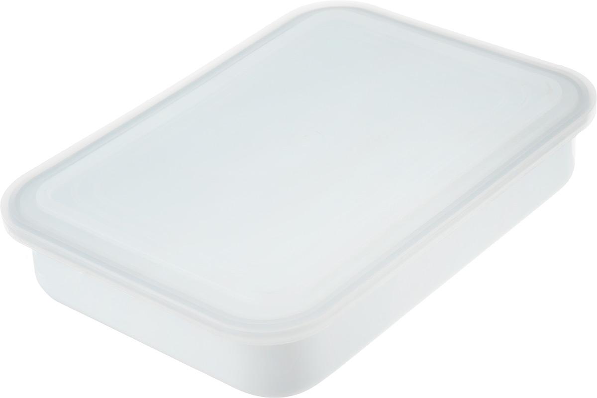 Контейнер Лысьвенские эмали, с крышкой, 2,5 л115510Прямоугольный контейнер Лысьвенские эмали изготовлен из высококачественной стали с эмалированным покрытием. Эмалевое покрытие, являясь стекольной массой, не вызывает аллергию и надежно защищает пищу от контакта с металлом. Кроме того, такое покрытие долговечно, оно устойчиво к механическому воздействию, не царапается и не сходит, а стальная основа практически не подвержена механической деформации, благодаря чему срок эксплуатации увеличивается. Изделие идеально подходит сервировки и хранения продуктов. Контейнер имеет пластиковую крышку, которая плотно закрывается и предотвращает проникновение влаги, запахов и вытекание жидкости. Можно мыть в посудомоечной машине.Размер контейнера (без учета крышки): 29,5 х 21,5 см. Высота контейнера (без учета крышки): 5,5 см.