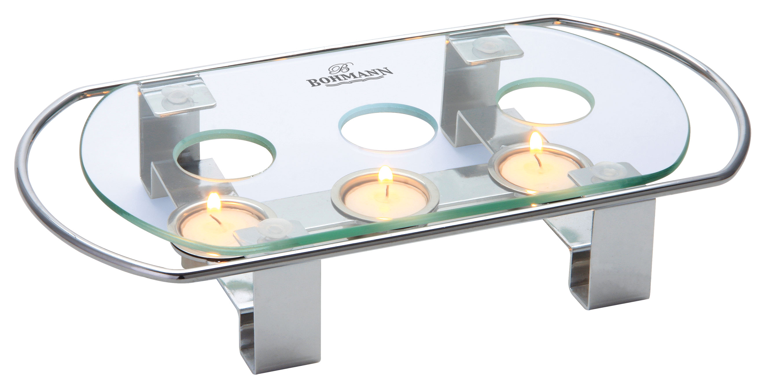 Мармит-подставка Bohmann, цвет: прозрачный204BH/NEWТермостойкая стеклянная подставка-мармит Bohmann идеально подойдет для подогрева блюд. Стекло можно заменить, легко мыть. Не ржавеет. Глянцевая хромированная рамка с 3 держателями для греющей свечи.Размер: 34 х 18 х 6 см.