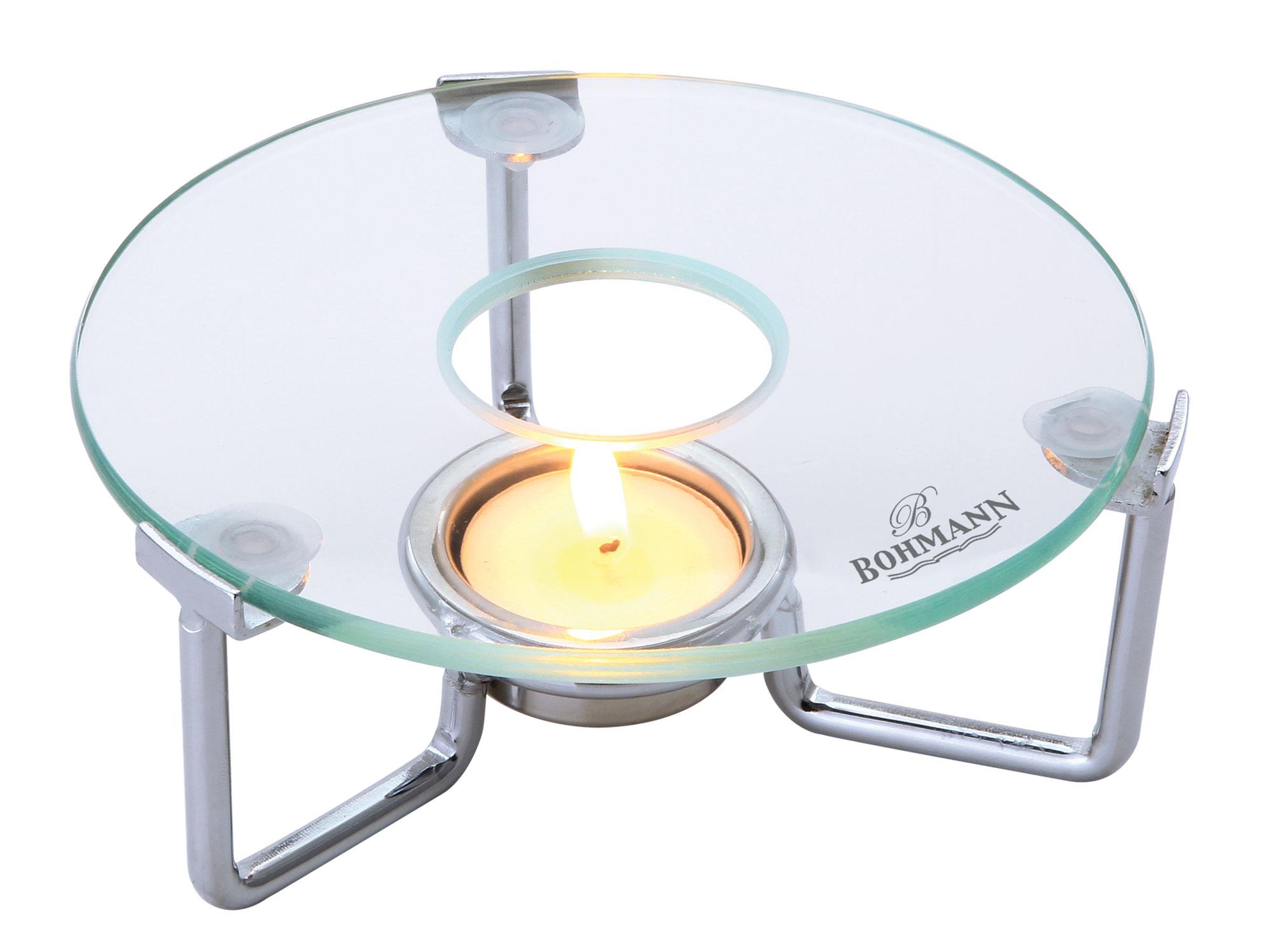 Мармит-подставка Bohmann, для чайника, цвет: прозрачный115510Подставка-мармит для подогрева чайника. Термостойкая стеклянная подставка. Стекло можно заменить, легко мыть. Не ржавеет. Глянцевая хромированная рамка с 1 держателем для греющей свечи. Размер: 15 х 15 х 5 см.