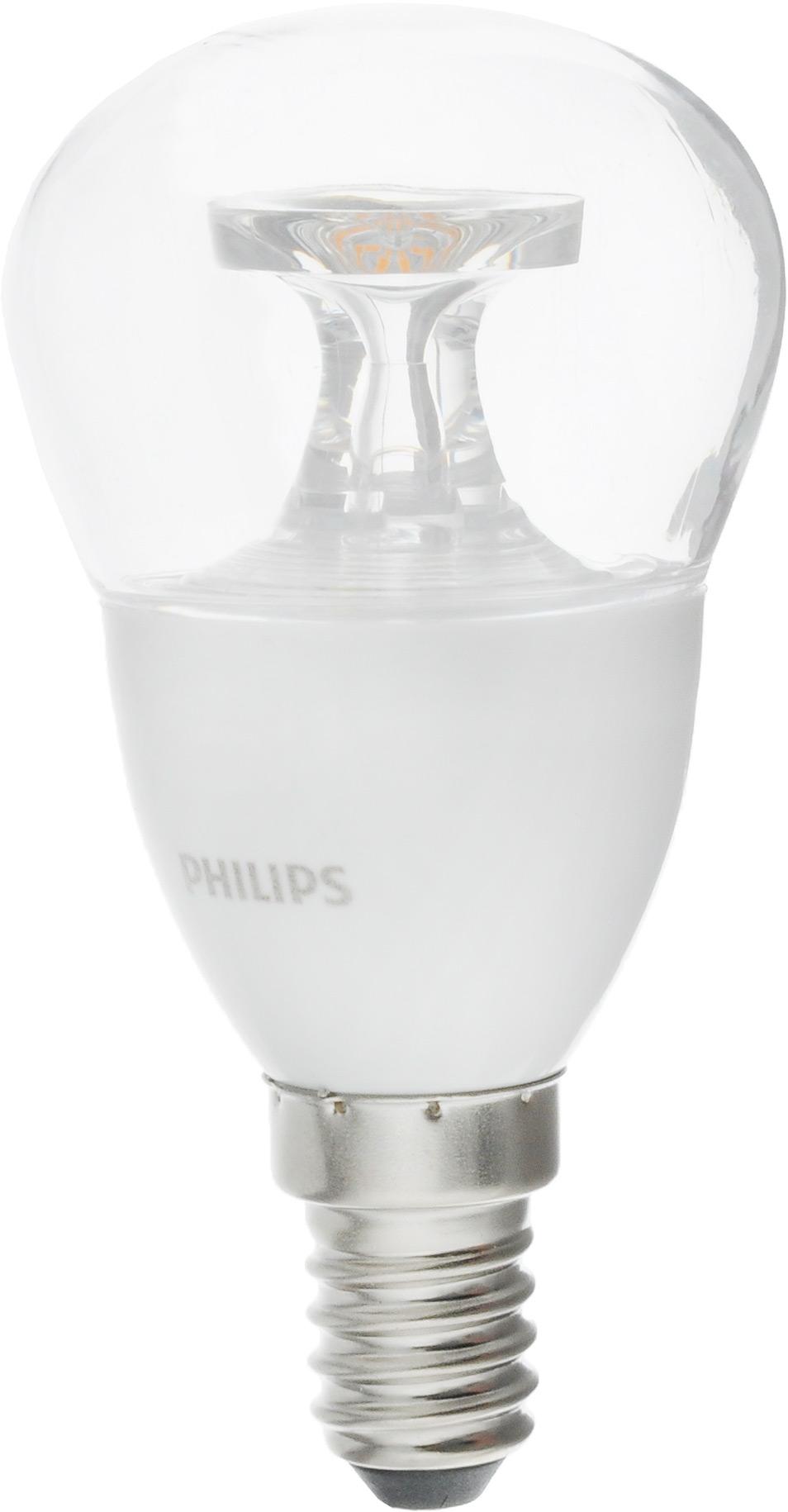 Лампа светодиодная Philips LED lustre, цоколь E14, 5,5-40W, 2700К12151Современные светодиодные лампы Philips LED lustre экономичны, имеют долгий срок службы и мгновенно загораются, заполняя комнату светом. Лампа классической формы и высокой яркости позволяет создать уютную и приятную обстановку в любой комнате вашего дома.Светодиодные лампы потребляют на 91 % меньше электроэнергии, чем обычные лампы накаливания, излучая при этом привычный и приятный теплый свет. Срок службы светодиодной лампы Philips составляет до 15 000 часов, что соответствует общему сроку службы 15 ламп накаливания. В результате менять лампы приходится значительно реже, что сокращает количество отходов.Напряжение: 220-240 В. Световой поток: 470 lm.