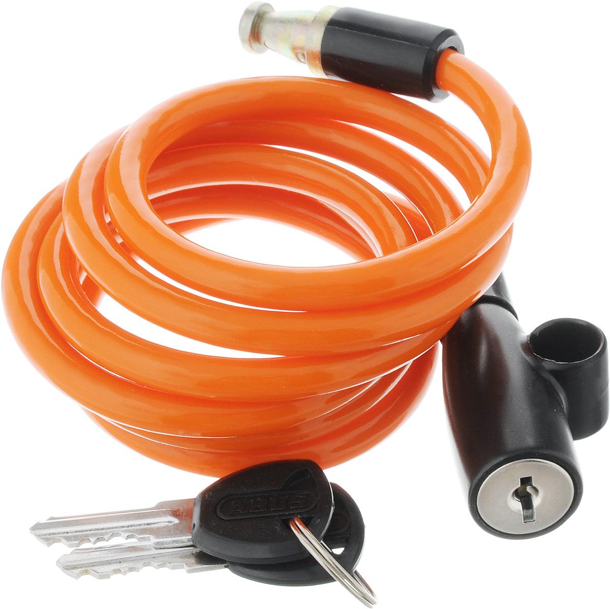 Велозамок Abus 1950/120 Kids, с ключами, цвет: оранжевый, диаметр 7 мм, длина 1,31 мХ82788Велосипедный замок Abus 1950/120 Kids - это отличная вещь для сохранности вашего велосипеда. Замок, выполненный из прочного пластика, оснащен металлическим тросом обтянутым мягким ПВХ. Блокируется при помощи ключа.Количество ключей: 2 шт.Диаметр троса: 7 мм.Длина: 1,31 м.