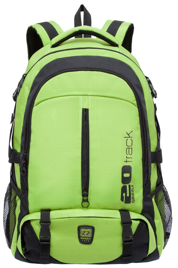 Рюкзак спортивный мужской Grizzly, цвет: светло-зеленый, черный. RU-708-2/2ГризлиСпортивный рюкзак Grizzl выполнен из сочетания высококачественного нейлона. Рюкзак имеет петлю для подвешивания и две удобные лямки, длина которых регулируется с помощью пряжек. Модель имеет два основных отделения на молнии, один из которых дополнен карманом для ноутбука. На передней стенке расположены карман на молнии и объемный карман на застежке-молнии. Боковые стенки рюкзака имеют карманы из сетки. Рюкзак выполнен с анатомической спинкой и нагрудной стяжкой-фиксатором.