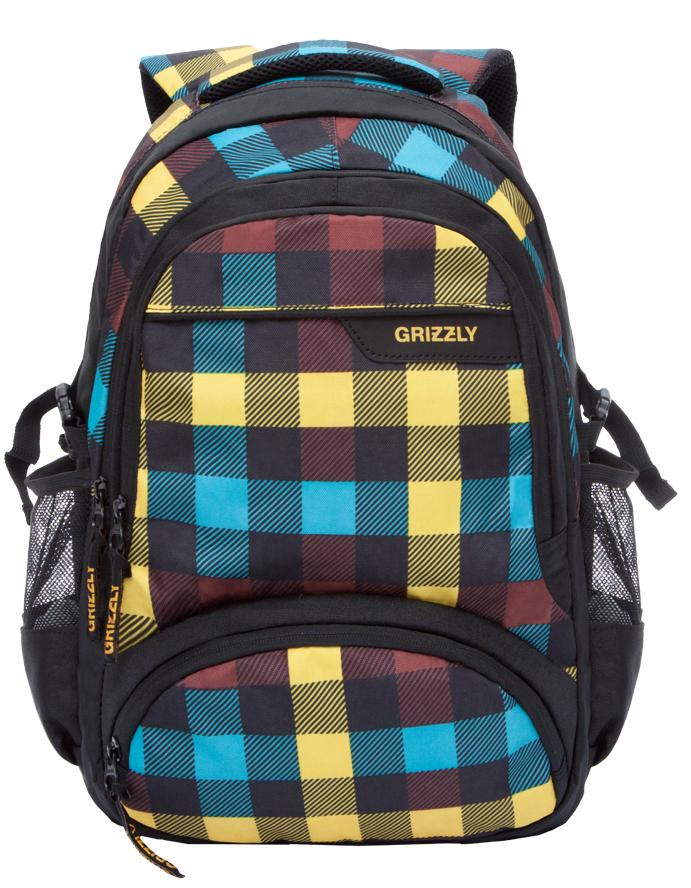 Рюкзак городской мужской Grizzly, цвет: черный, мультиколор. RU-709-1/1ГризлиРюкзак городской Grizzl выполнен из сочетания высококачественного полиэстера с нейлоном и оформлен оригинальным принтом. Рюкзак имеет петлю для подвешивания и две удобные лямки, длина которых регулируется с помощью пряжек. Модель имеет два основных отделения на молнии, которые содержат внутренний карман на молнии и внутренний укрепленный карман для ноутбука. На передней стенке расположены два объемных кармана на застежке-молнии, а по бокам имеются объемные кармашки из сетки. Тыльная сторона дополнена анатомической спинкой.