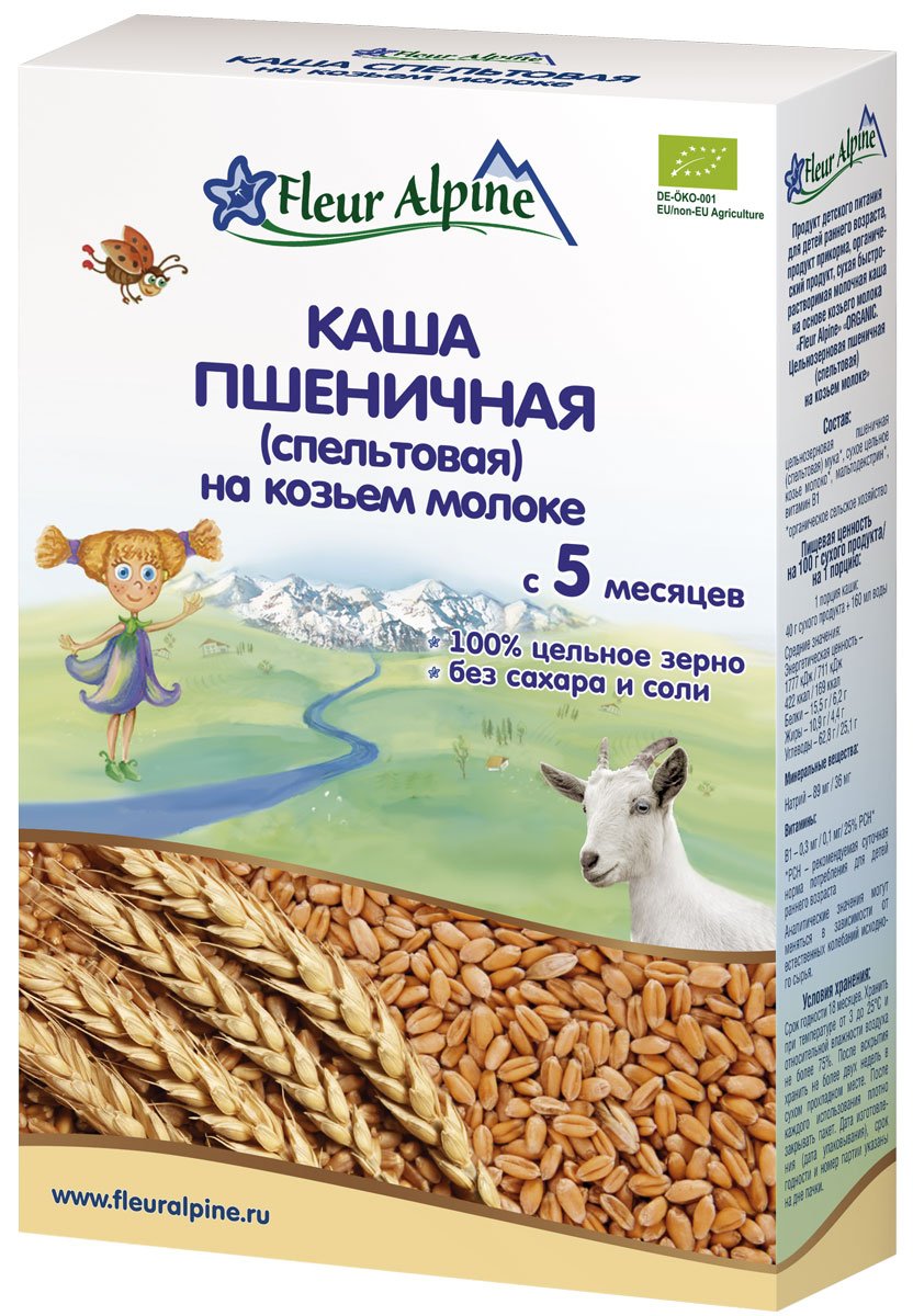 Fleur Alpine Organic каша на козьем молоке пшеничная (спельтовая), с 5 месяцев, 200 г4006303632272Каша Спельтовая на козьем молоке Fleur Alpine Organic Изготовлена из отборного органического сырья Произведена из цельного зерна с сохранением его природной питательной ценности Легко усваивается и переваривается благодаря нежной консистенции Имеет восхитительный вкус и аромат