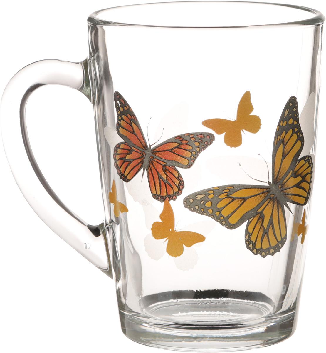 Кружка OSZ Капучино. Желтые бабочки, 300 мл54 009312Кружка OSZ Капучино. Желтые бабочки изготовлена из стекла и декорирована принтом.Диаметр (по верхнему краю): 7,5 см. Высота: 11 см.