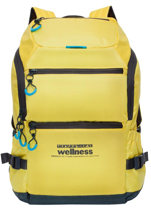 Рюкзак спортивный мужской Grizzly, цвет: желтый. RU-710-2/3332515-2800Спортивный рюкзак Grizzl выполнен из высококачественного нейлона. Рюкзак имеет ручку-петлю для подвешивания и две удобные лямки, длина которых регулируется с помощью пряжек. Модель имеет одно основное отделение, которое оснащено внутренним карманом для гаджета и карманом на молнии. Верхней части рюкзака находятся карман быстрого доступа, а также передняя стенка дополнена двумя втачными карманами на застежке-молнии. На боковых стенках расположены открытые кармашки без застежки. Тыльная сторона спортивного рюкзака выполнена с анатомической спинкой и боковыми стяжками-фиксаторами.
