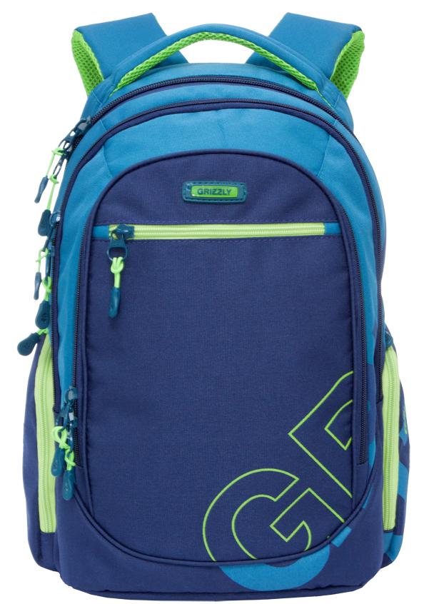 Рюкзак городской Grizzly, цвет: синий, голубой. RU-711-2/2ГризлиРюкзак городской Grizzl выполнен из сочетания высококачественного нейлона с полиэстером и оформлен оригинальным фирменным принтом. Рюкзак имеет петлю для подвешивания и две удобные лямки, длина которых регулируется с помощью пряжек. Изделие имеет три основных отделения, которые дополнены внутренним карманом на молнии, подвесным карманом на молнии и карманом-органайзером. Передняя стенка имеет втачной карман на застежке-молнии. Рюкзак оснащен двумя боковыми карманами на молнии. Спинка дополнена анатомической укрепленной вставкой.