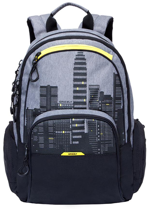 Рюкзак городской мужской Grizzly, цвет: черный, серый, желтый. RU-713-2/4332515-2800Рюкзак городской Grizzl выполнен из сочетания высококачественного полиэстера с нейлоном и оформлен оригинальным принтом. Рюкзак имеет петлю для подвешивания и две удобные лямки, длина которых регулируется с помощью пряжек. Модель имеет два основных отделения на молнии, которые содержат внутренний карман-пенал для карандашей, внутренний карман под гаджет и карман на молнии. Также на лицевой стороне находятся верхний карман быстрого доступа и накладной карман на застежке-молнии. Рюкзак оснащен двумя боковыми карманами на молнии. Внешняя сторона дополнена анатомической спинкой.