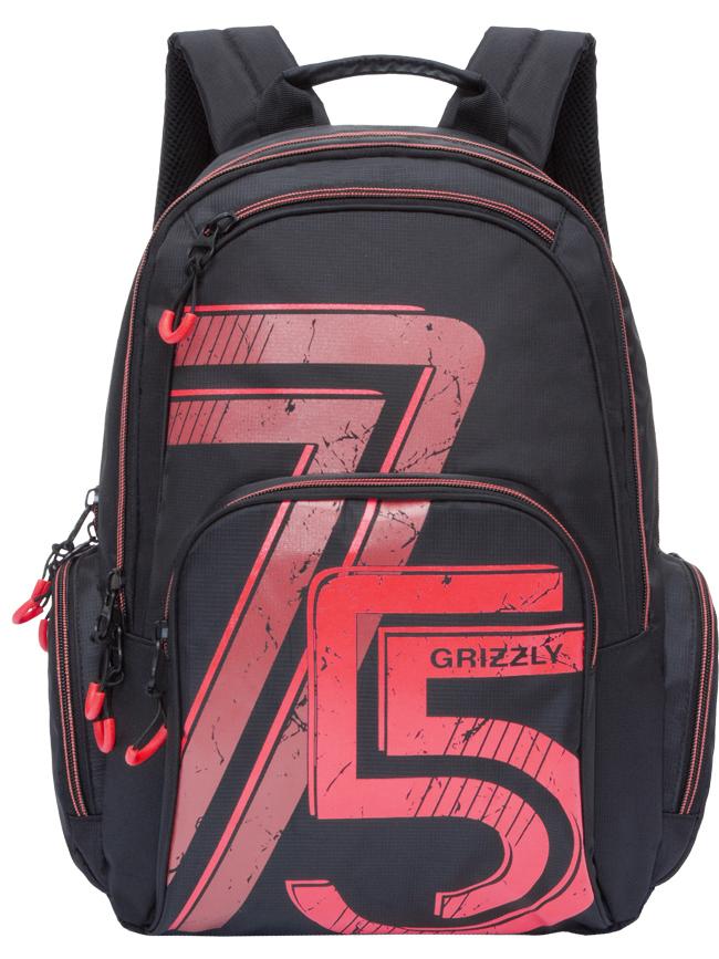 Рюкзак городской мужской Grizzly, цвет: черный, красный. RU-713-3/1ГризлиРюкзак городской Grizzl выполнен из высококачественного нейлона и оформлен оригинальным принтом. Рюкзак имеет петлю для подвешивания и две удобные лямки, длина которых регулируется с помощью пряжек. Модель имеет два основных отделения на молнии, которые содержат внутренний карман-пенал для карандашей, внутренний карман под гаджет и карман на молнии. Также на лицевой стороне находятся верхний карман быстрого доступа и накладной карман на застежке-молнии. Рюкзак оснащен двумя боковыми карманами на молнии. Тыльная сторона рюкзака дополнена анатомической спинкой.