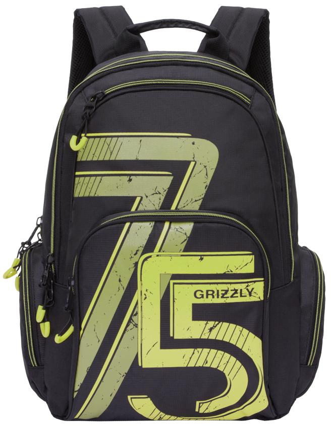 Рюкзак городской мужской Grizzly, цвет: черный, зеленый. RU-713-3/3RivaCase 7560 blueРюкзак городской Grizzl выполнен из высококачественного нейлона и оформлен оригинальным принтом. Рюкзак имеет петлю для подвешивания и две удобные лямки, длина которых регулируется с помощью пряжек. Модель имеет два основных отделения на молнии, которые содержат внутренний карман-пенал для карандашей, внутренний карман под гаджет и карман на молнии. Также на лицевой стороне находятся верхний карман быстрого доступа и накладной карман на застежке-молнии. Рюкзак оснащен двумя боковыми карманами на молнии. Тыльная сторона рюкзака дополнена анатомической спинкой.