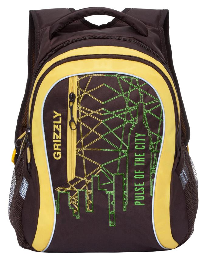 Рюкзак городской мужской Grizzly, цвет: темно-коричневый, желтый. RU-716-1/295940-905Рюкзак городской Grizzl выполнен из высококачественного нейлона в сочетании с полиэстероми оформлен оригинальным принтом. Рюкзак имеет петлю для подвешивания и две удобные лямки, длина которых регулируется с помощью пряжек. Модель имеет два основных отделения, которые оснащены карманом на молнии на передней стенке, карманом на молнии и внутренним карманом на резинке. Боковые стенки оснащены карманами из сетки. Спереди рюкзак оснащен втачным карманом на застежке-молнии. Тыльная сторона рюкзака имеет жесткую анатомическую спинку.