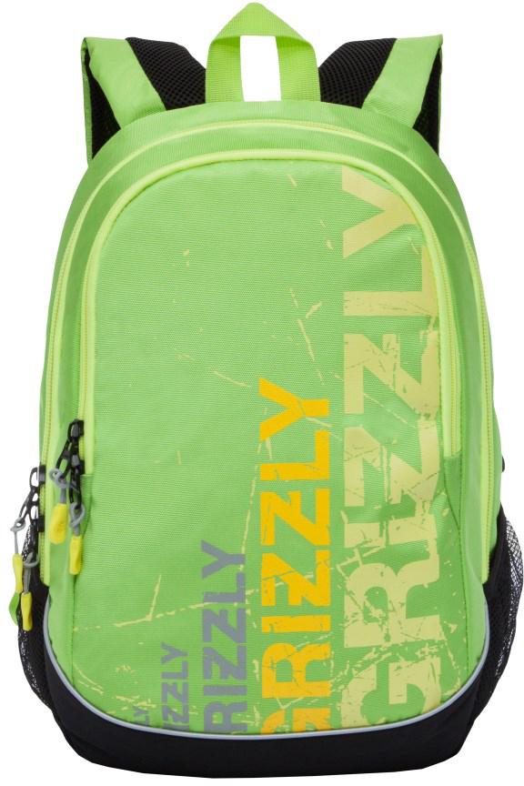 Рюкзак городской мужской Grizzly, цвет: черный, салатовый. RU-721-1/3RU-721-1/3Рюкзак городской Grizzl выполнен из сочетания высококачественного полиэстера с нейлоном и оформлен оригинальным фирменным принтом. Рюкзак имеет петлю для подвешивания и две удобные лямки, длина которых регулируется с помощью пряжек. Изделие имеет два основных отделения, которые дополнены внутренним карманом-пенал и подвесным карманом на молнии. Рюкзак оснащен двумя боковыми карманами из сетки. Тыльная сторона дополнена анатомической укрепленной спинкой.