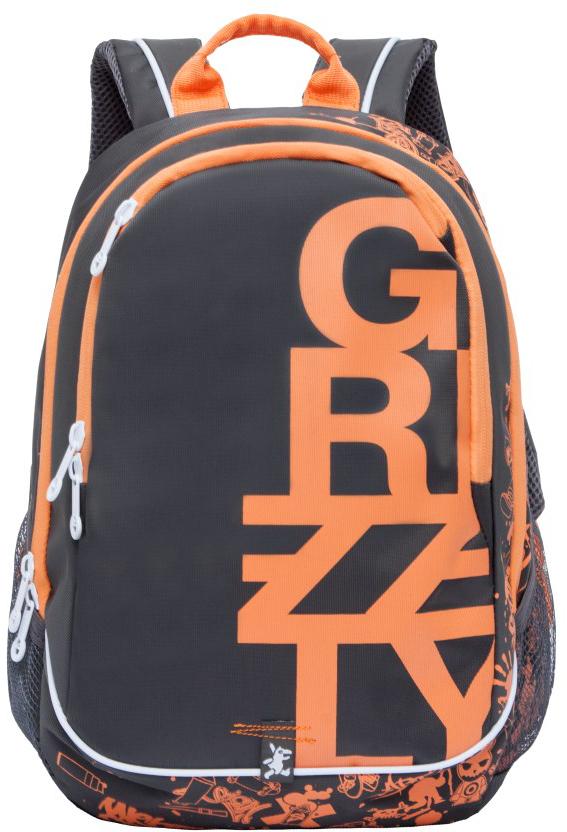 Рюкзак городской Grizzly, цвет: темно-серый, оранжевый. RU-724-1/1RivaCase 7560 blueРюкзак городской Grizzl выполнен из высококачественного нейлона и оформлен оригинальным фирменным принтом. Рюкзак имеет петлю для подвешивания и две удобные лямки, длина которых регулируется с помощью пряжек. Изделие имеет два основных отделения, которые дополнены внутренним карманом на молнии, подвесным карманом на молнии и карманом-пеналом для карандашей. Передняя стенка имеет втачной карман на застежке-молнии. Рюкзак оснащен двумя боковыми карманами из сетки. Спинка дополнена анатомической укрепленной вставкой.