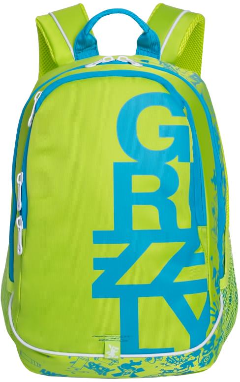 Рюкзак городской мужской Grizzly, цвет: салатовый, голубой. RU-724-1/3RivaCase 8460 aquamarineРюкзак городской Grizzl выполнен из высококачественного нейлона и оформлен оригинальным фирменным принтом. Рюкзак имеет петлю для подвешивания и две удобные лямки, длина которых регулируется с помощью пряжек. Изделие имеет два основных отделения, которые дополнены внутренним карманом-пенал и подвесным карманом на молнии. Рюкзак оснащен двумя боковыми карманами из сетки. Тыльная сторона дополнена анатомической укрепленной спинкой.